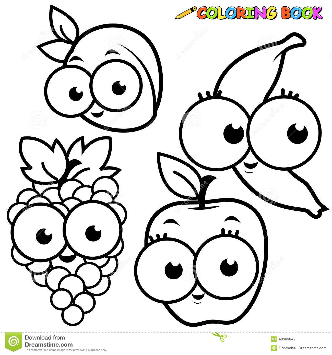 Coloring Book Page Fruits Set Stock Vector