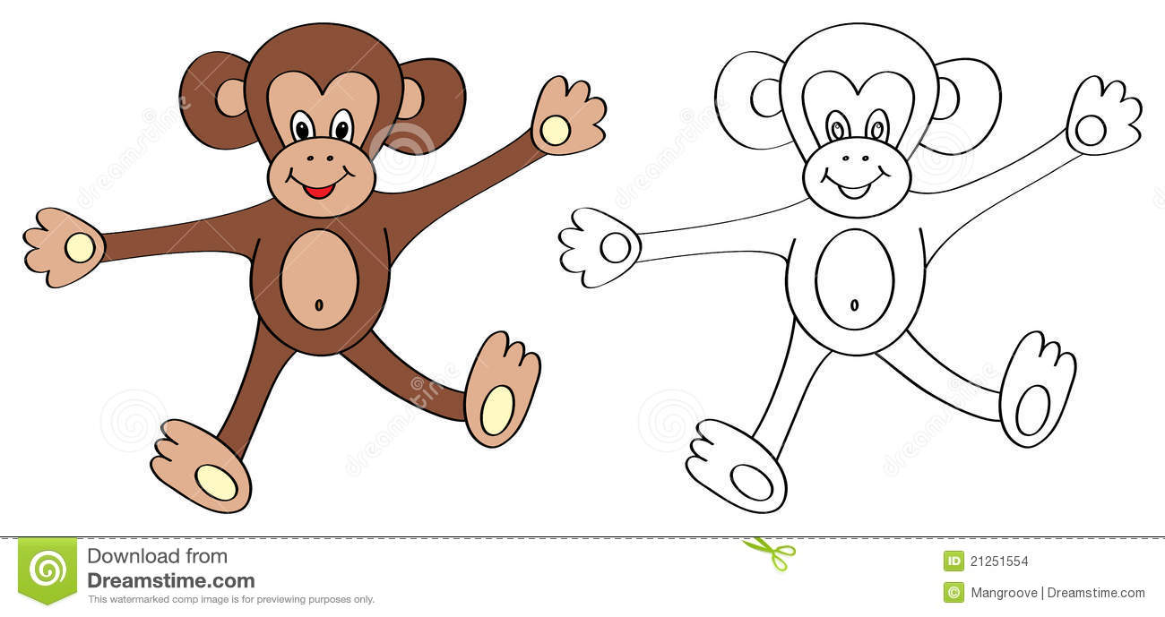 coloring book page for kids: monkey stock images - image: 21251554