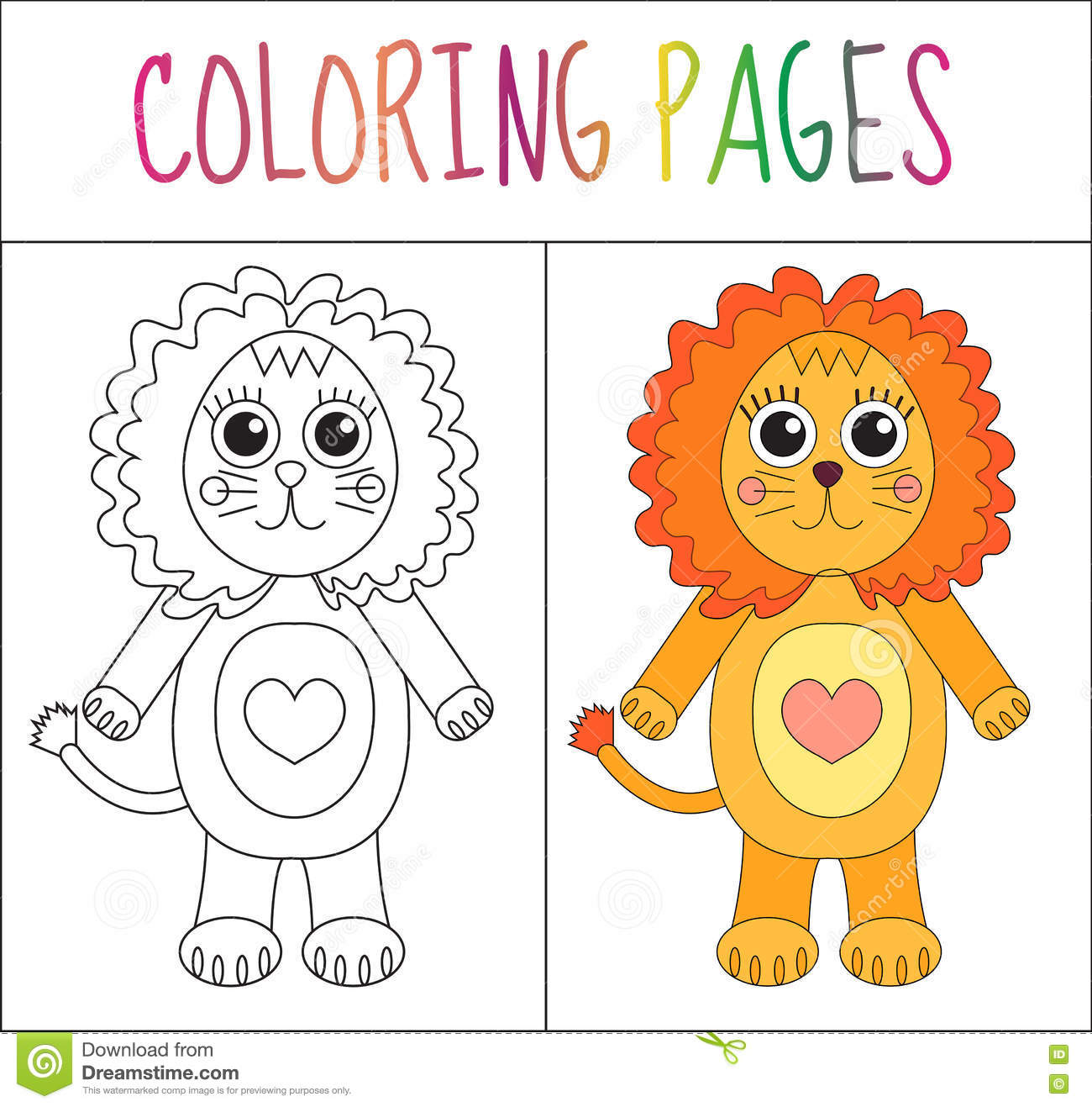 coloring book page lion sketch and color version coloring for