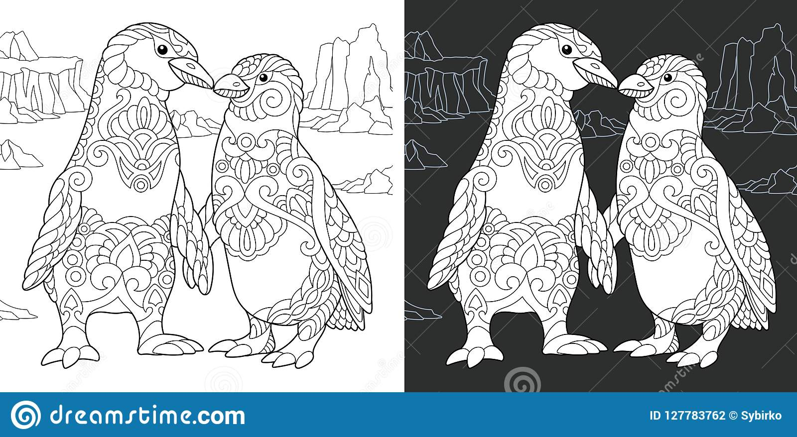 Coloring book page with penguin couple