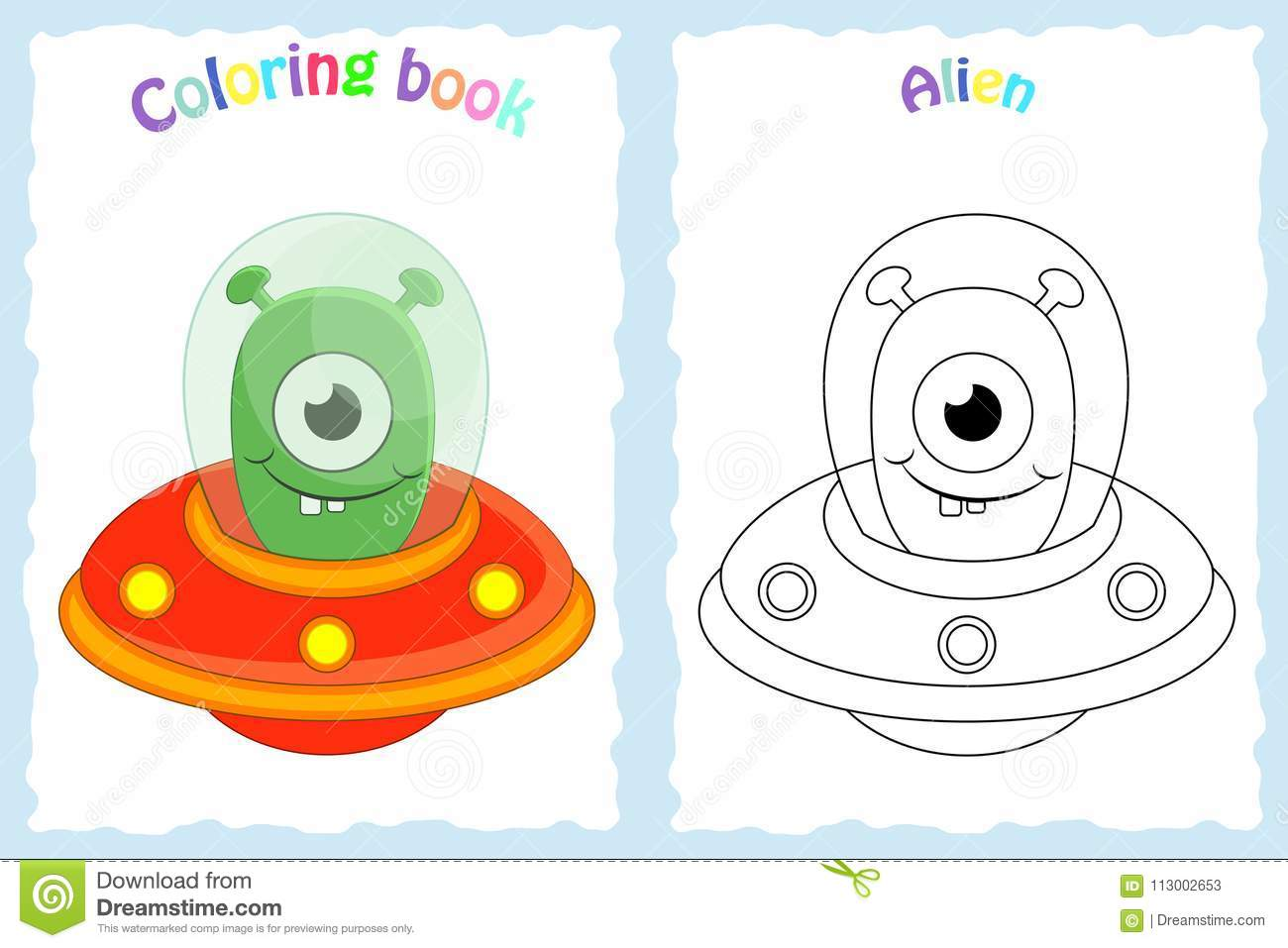 Coloring Book Page For Preschool Children With Colorful Alien A