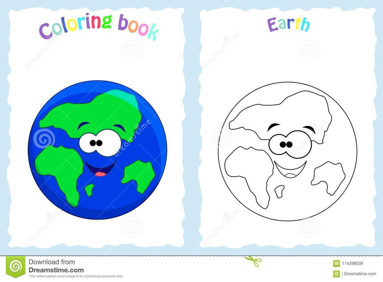 Coloring Book Page For Preschool Children With Colorful Earth An ...