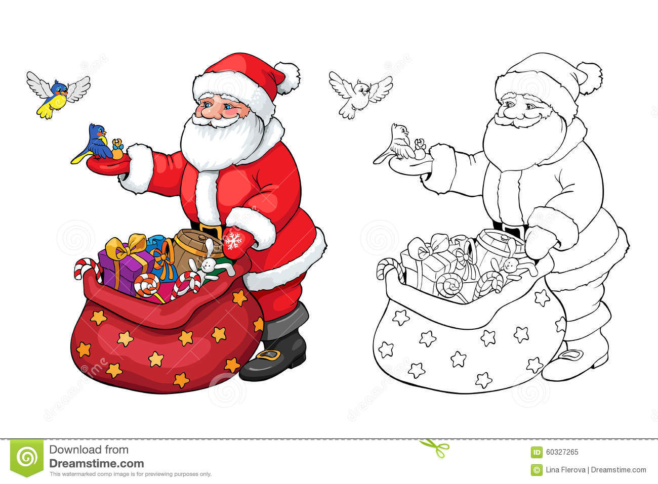 Coloring Book Or Page. Santa Claus With Christmas Gifts. Stock Vector - Illustration of happy ...