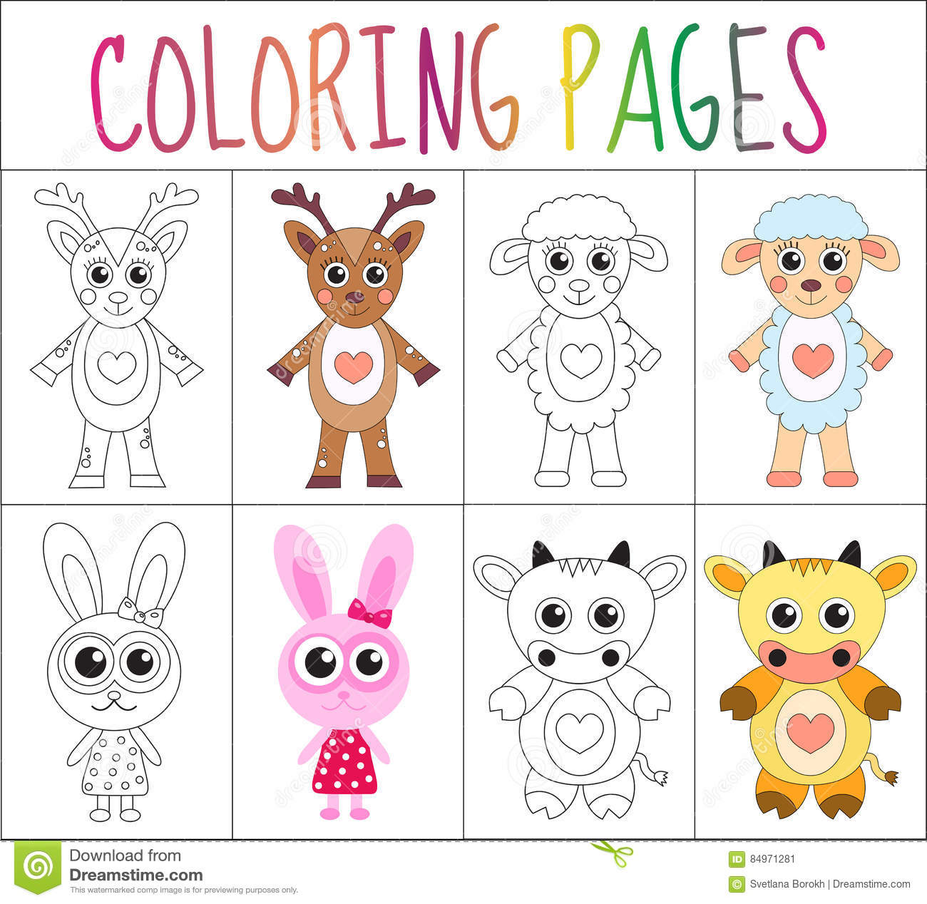 Coloring book page set. Animals collection. Sketch and color version. for kids.