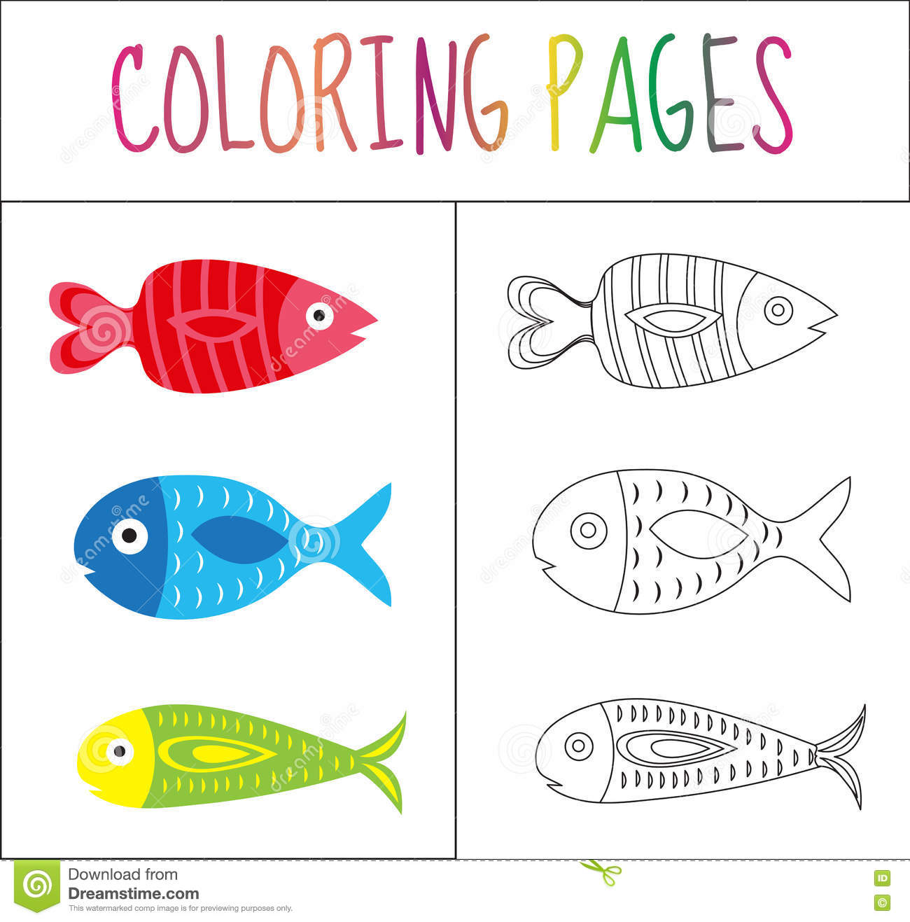 Coloring Book Page. Set Fish. Sketch And Color Version. Coloring For ...