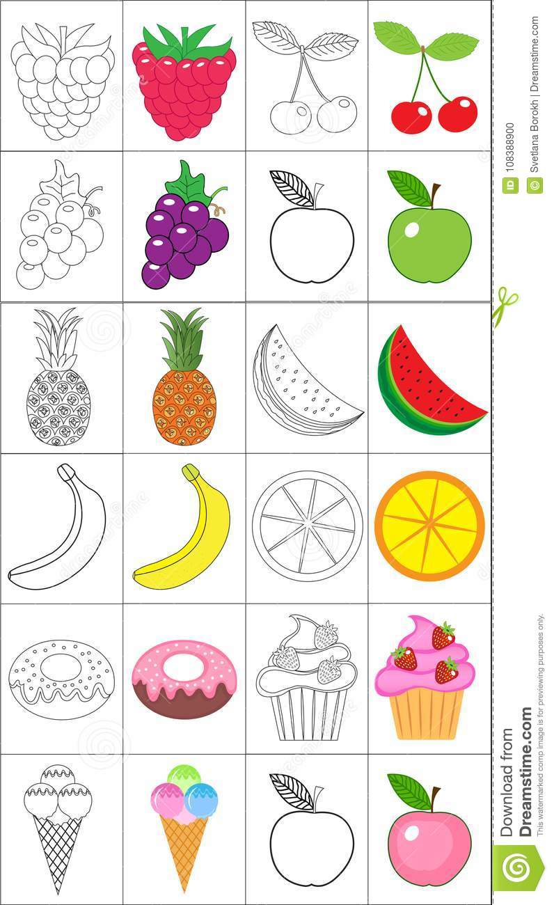 Coloring Book Page Set Fruits Collection Sketch And Color