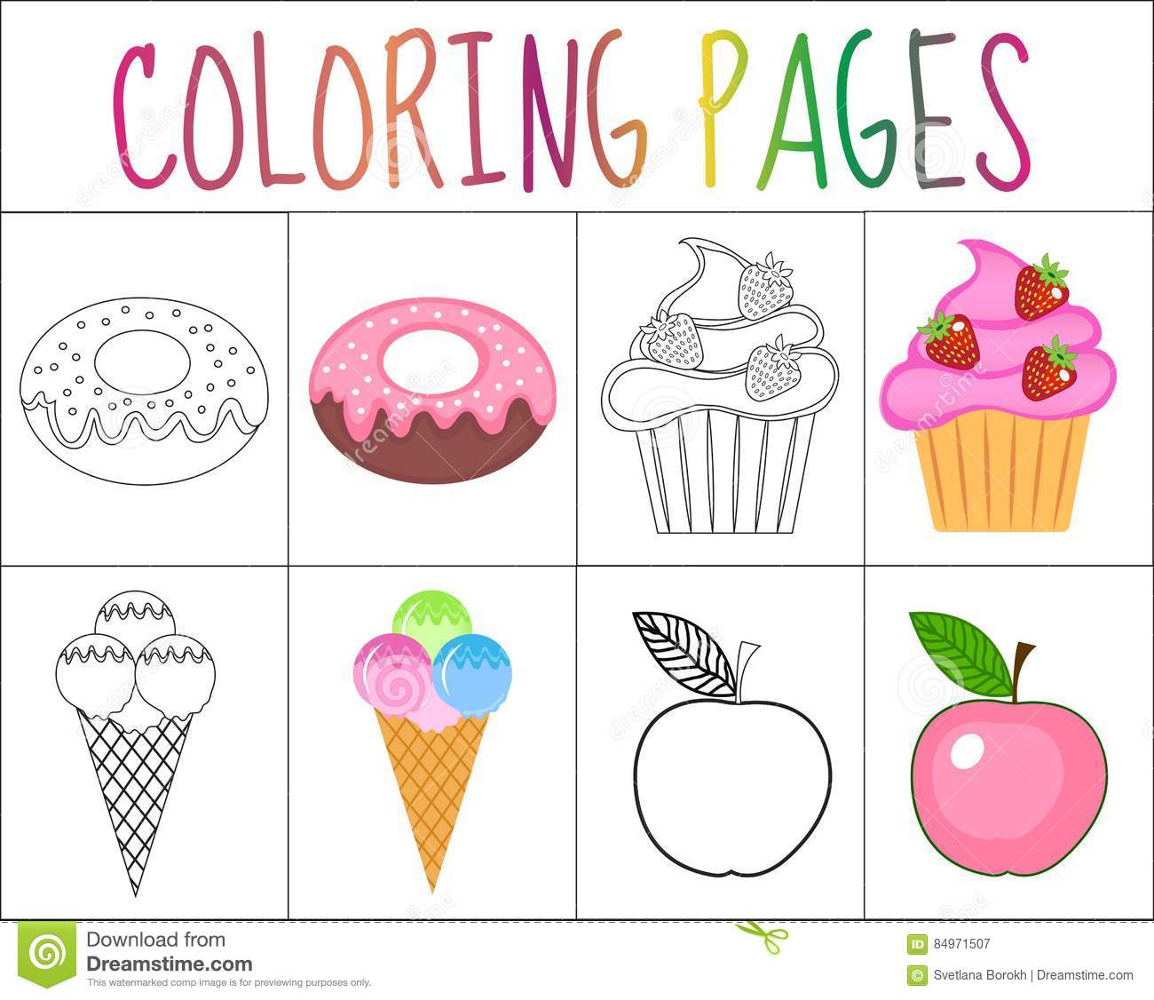 Coloring Book Page Set Sweets Collection Sketch And