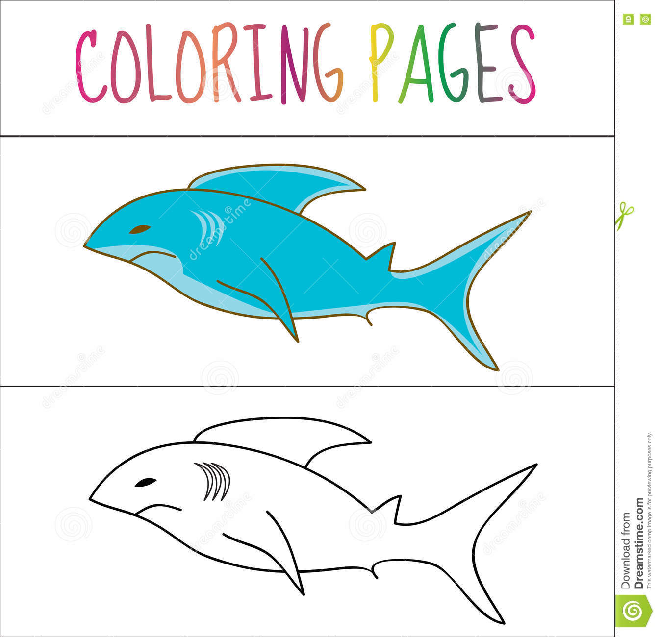 Coloring Book Page, Shark. Sketch And Color Version. Coloring For ...