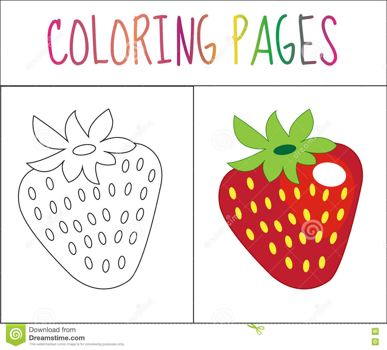 Coloring Book Page Strawberry Sketch And Color Version For Kids Vector