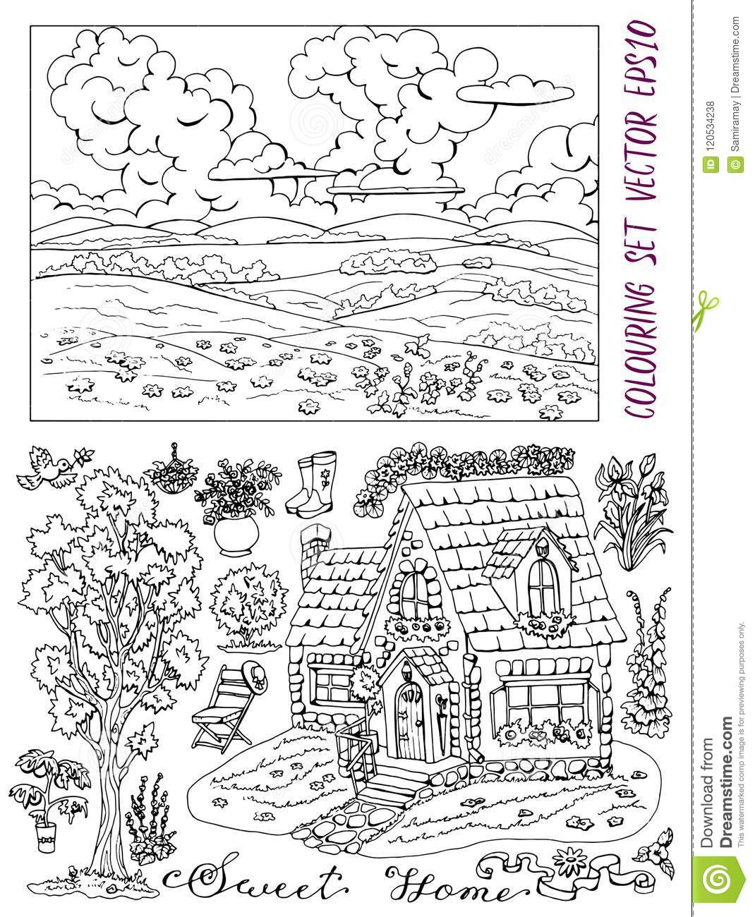 Coloring Book Page With Summer Landscape, Cottage, Tree ...