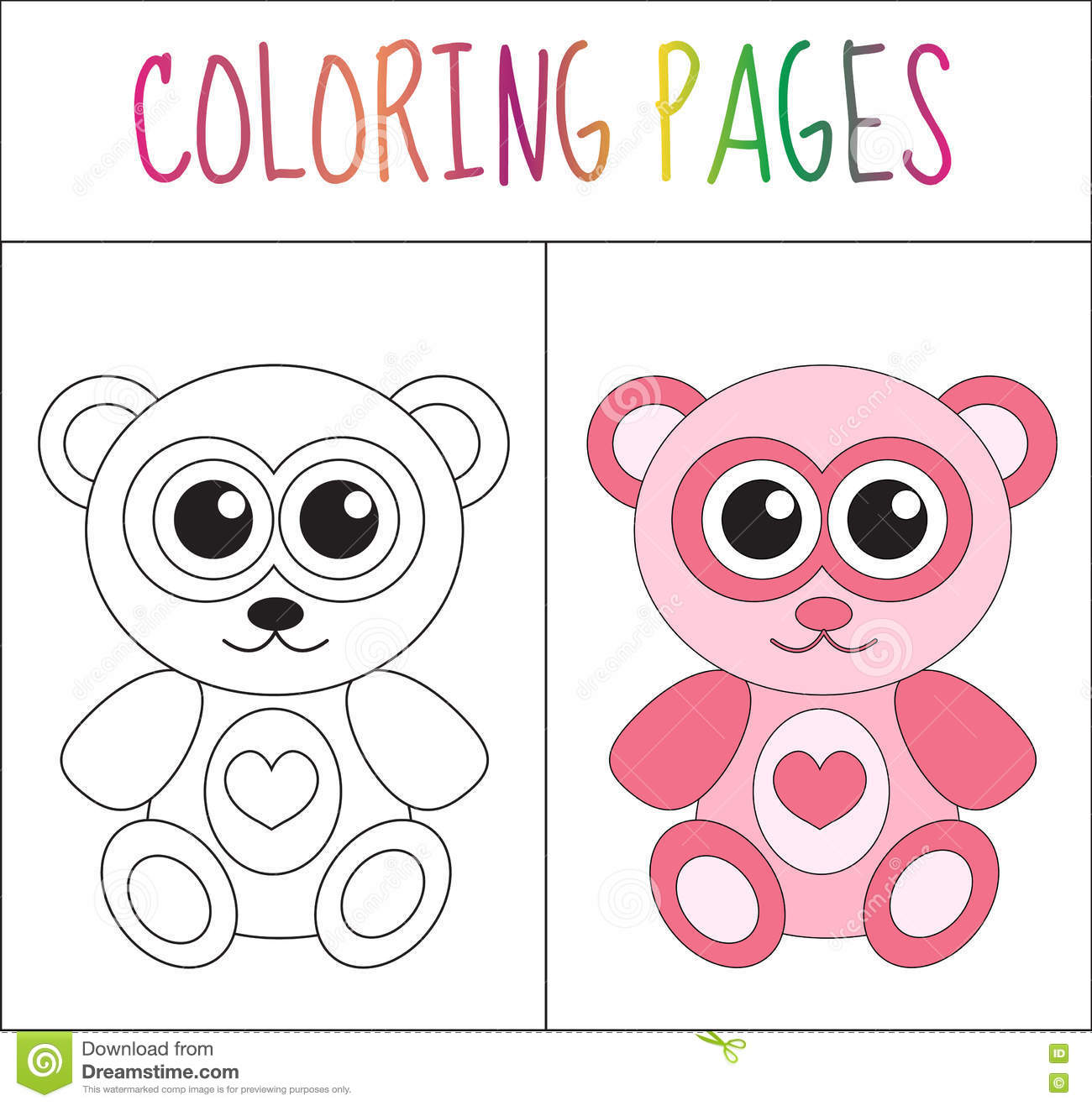 Download Coloring Book Page Teddy Bear Sketch And Color Version For Kids