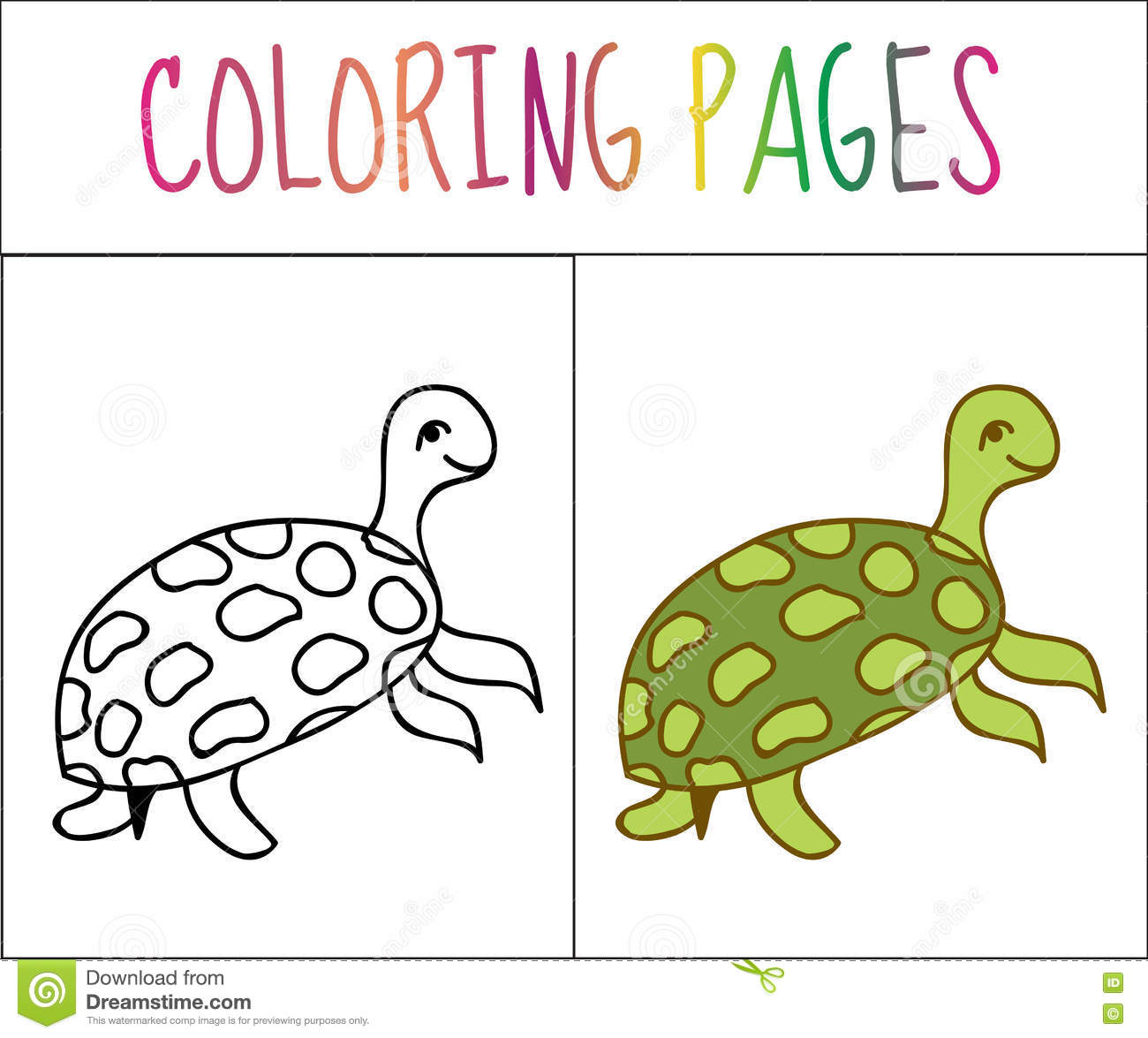Coloring Book Page, Turtle. Sketch And Color Version. Coloring For ...