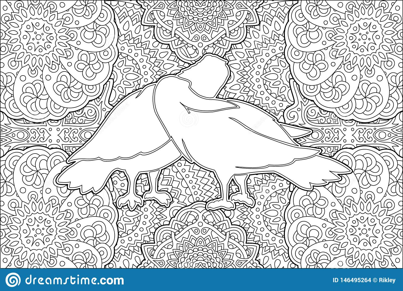 Coloring book page with two kissing white doves