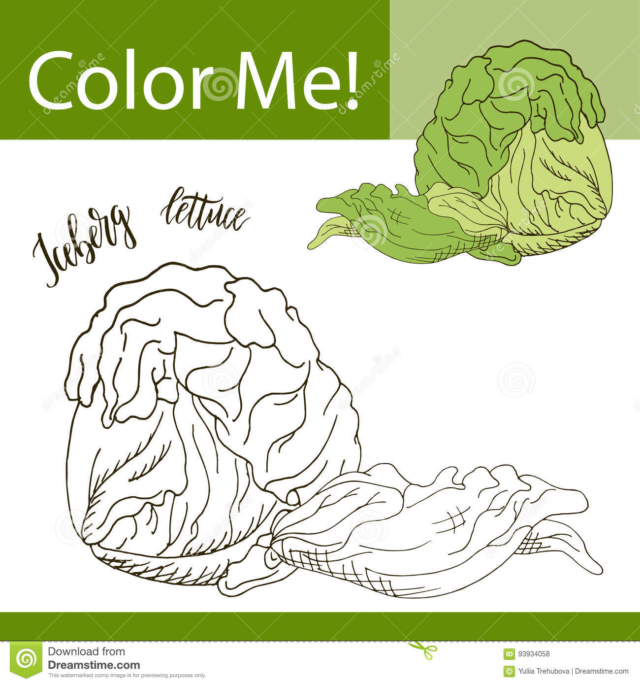 Coloring Book Or Page Of Vegetable. Vector Illustration With Hand ...