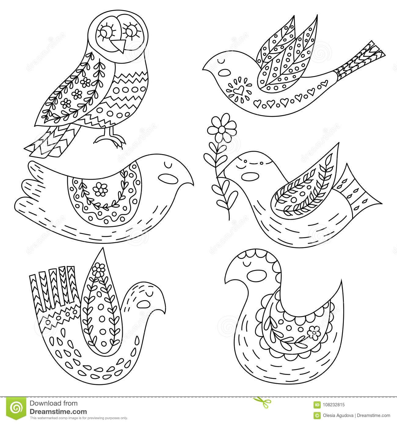 Coloring Book Or Pages For Adults Illustration Birds With