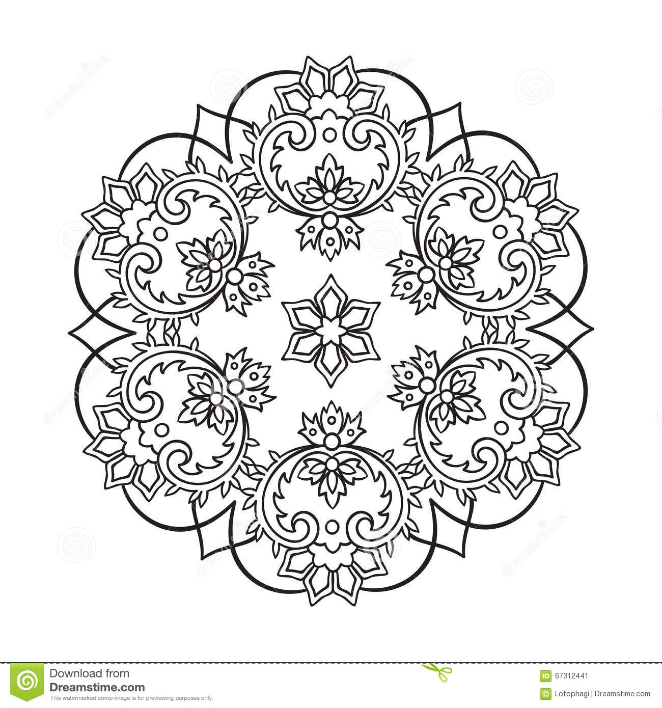 coloring book pages for kids and adults hand drawn abstract snowflake stock image