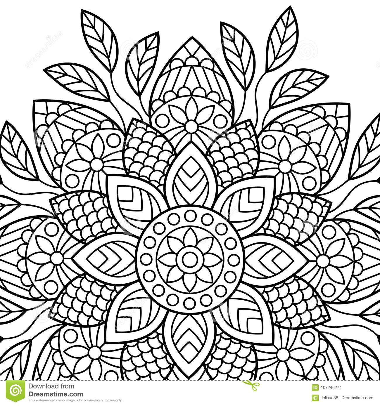 Coloring Book Pages. Mandala. Indian Antistress Medallion ...