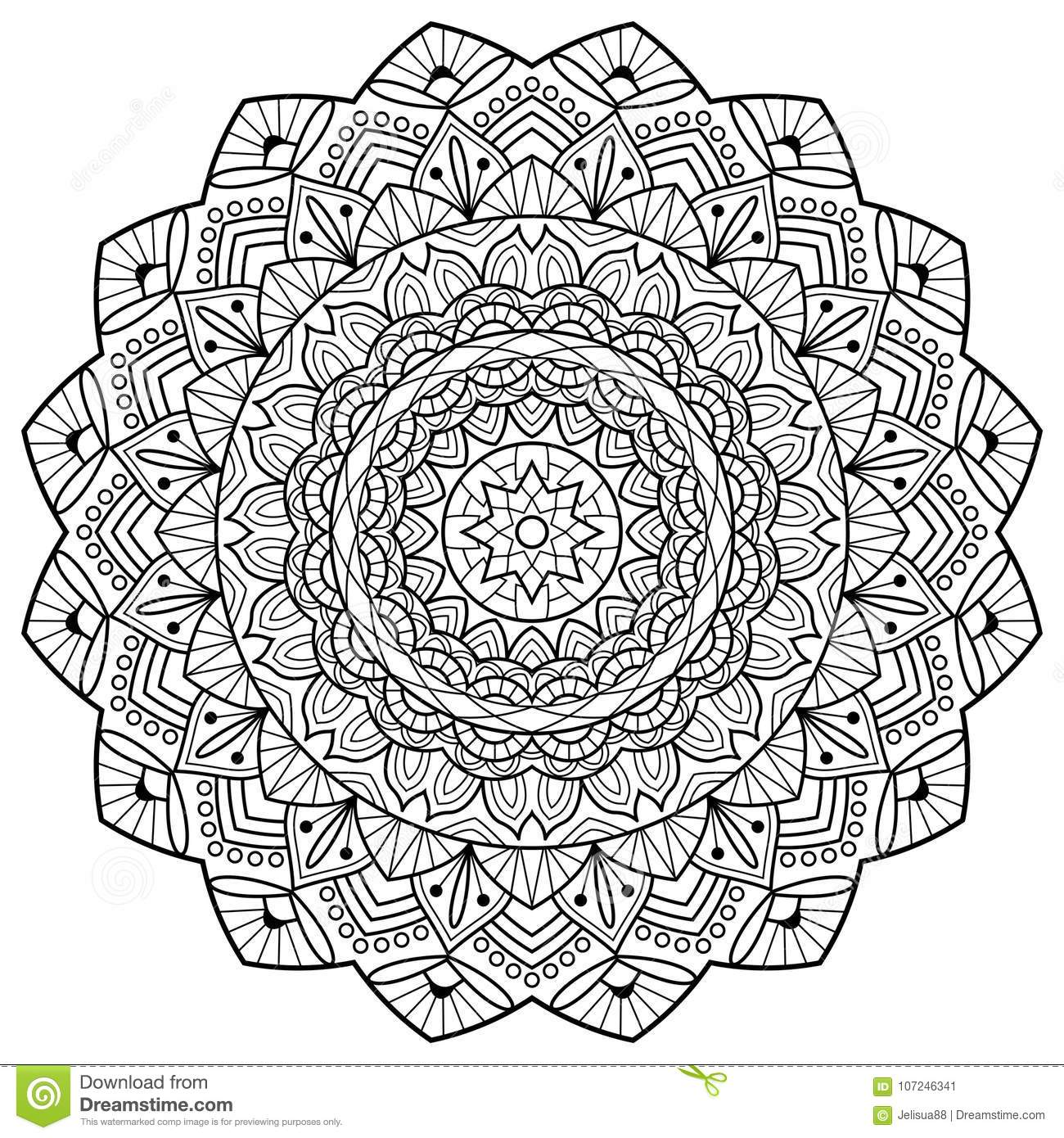 Coloring Book Pages Mandala Indian Antistress Medallion Abstract Islamic Flower Arabic Henna Design Yoga Symbol White Background Black Outline