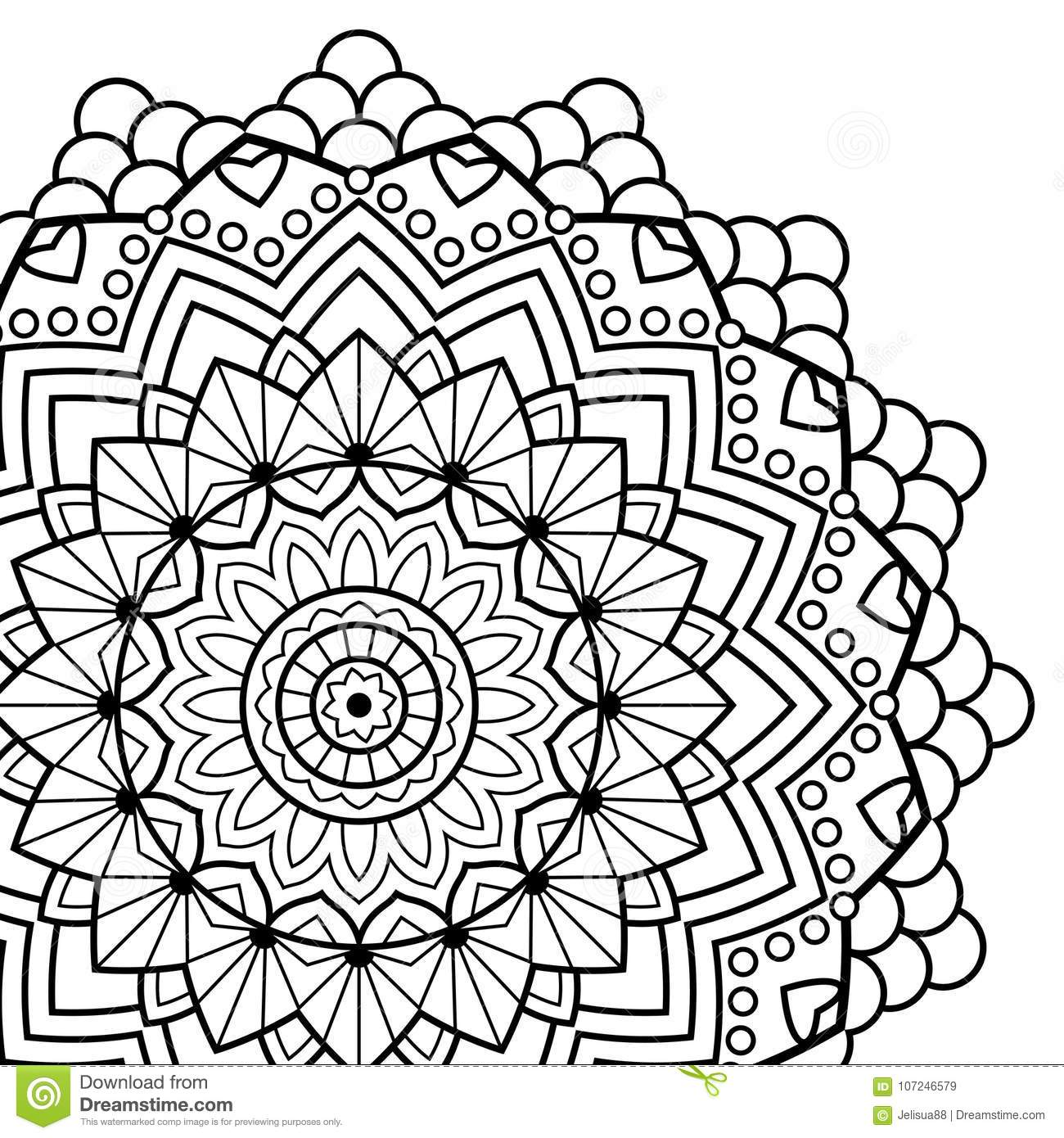 Download Coloring Book Pages Mandala Indian Antistress Medallion Stock Vector