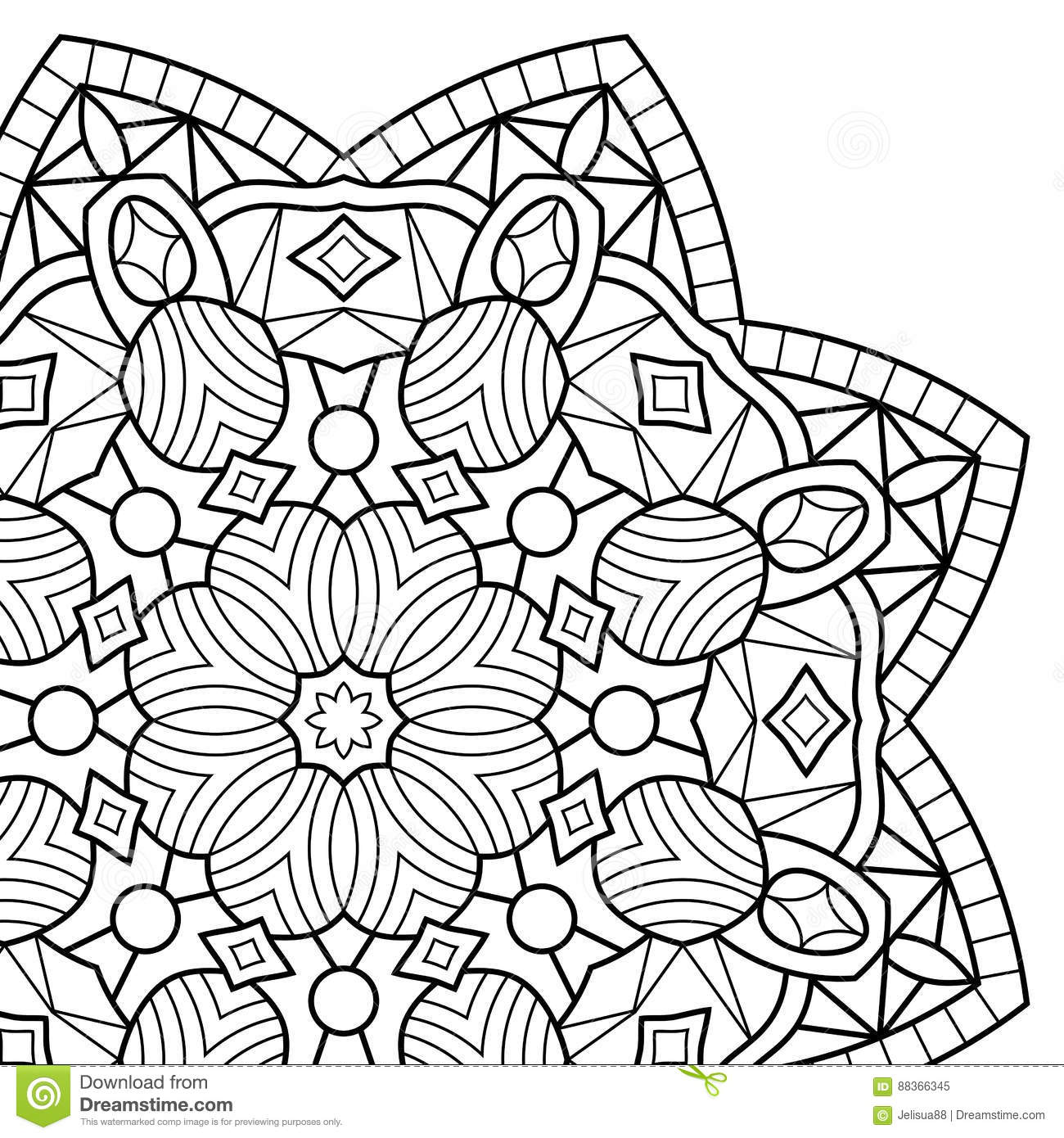 Mandala Coloring Book Pages Indian Antistress Medallion White Background Black Outline Vector Illustration