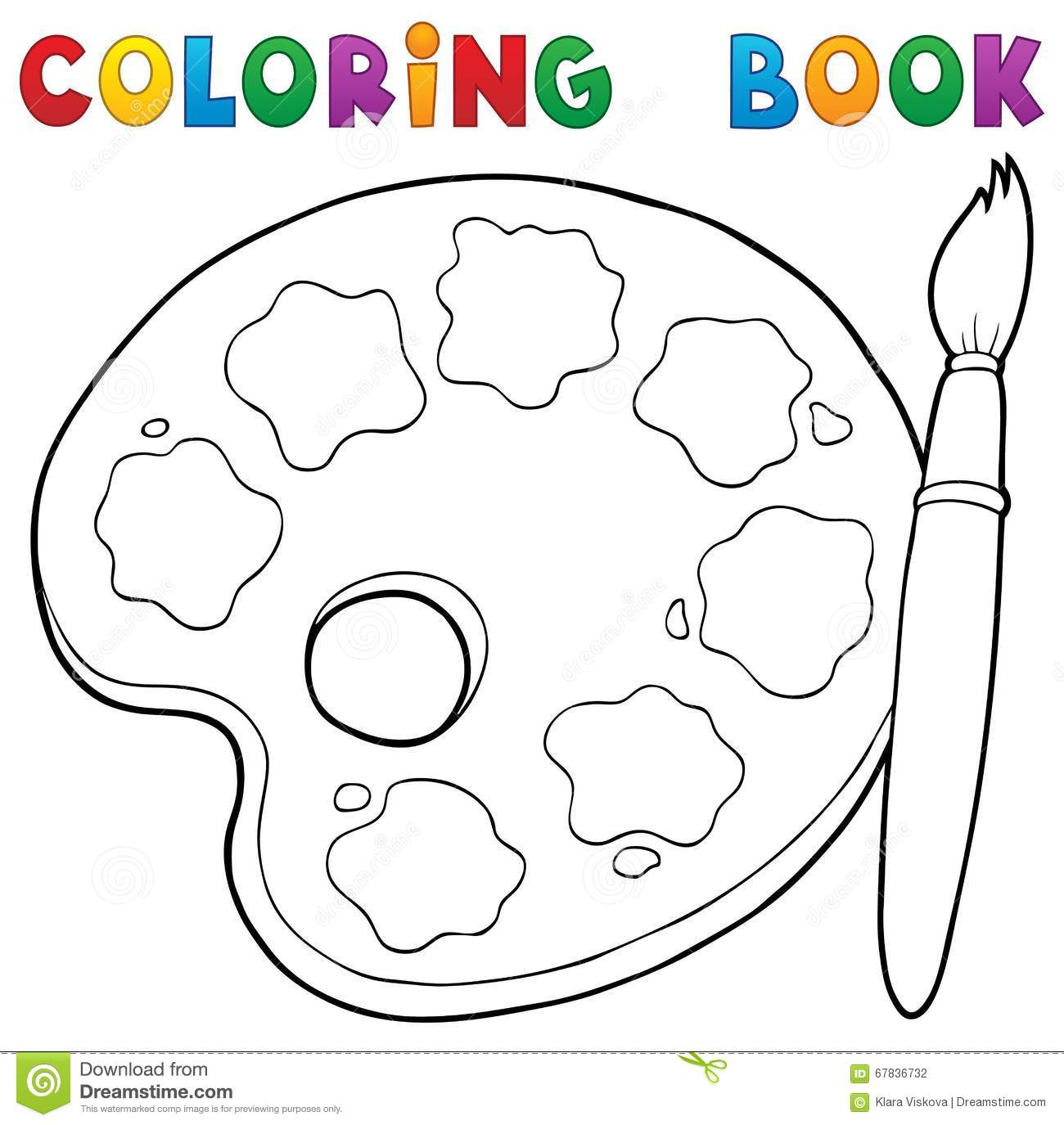 coloring book paint palette theme 1 stock vector