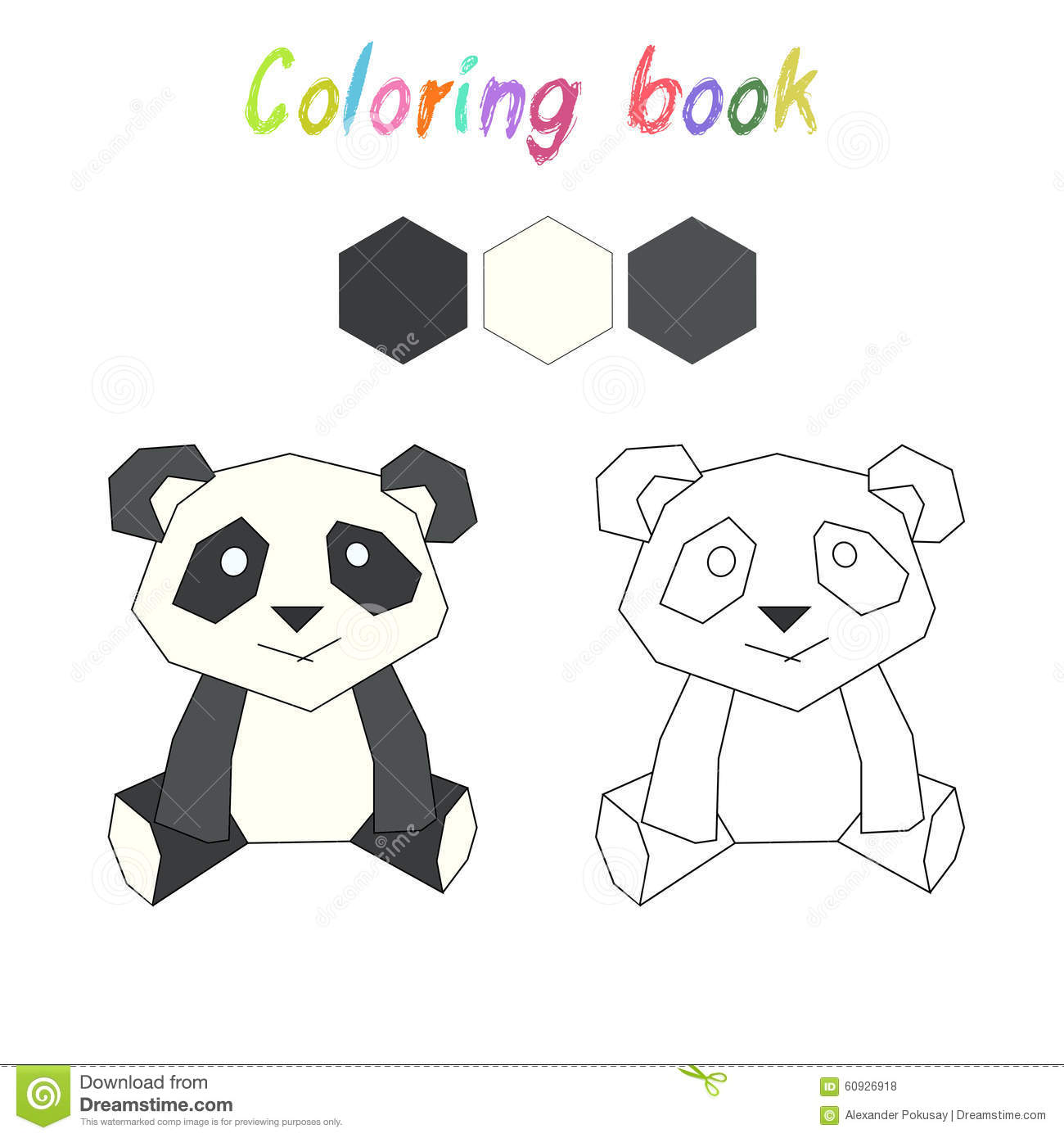 coloring book panda kids layout for game stock vector