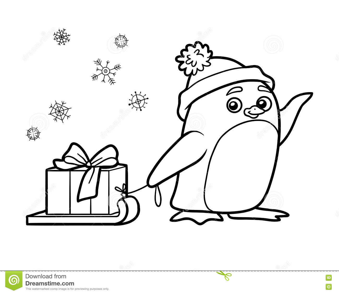 Coloring Book Penguin With Christmas