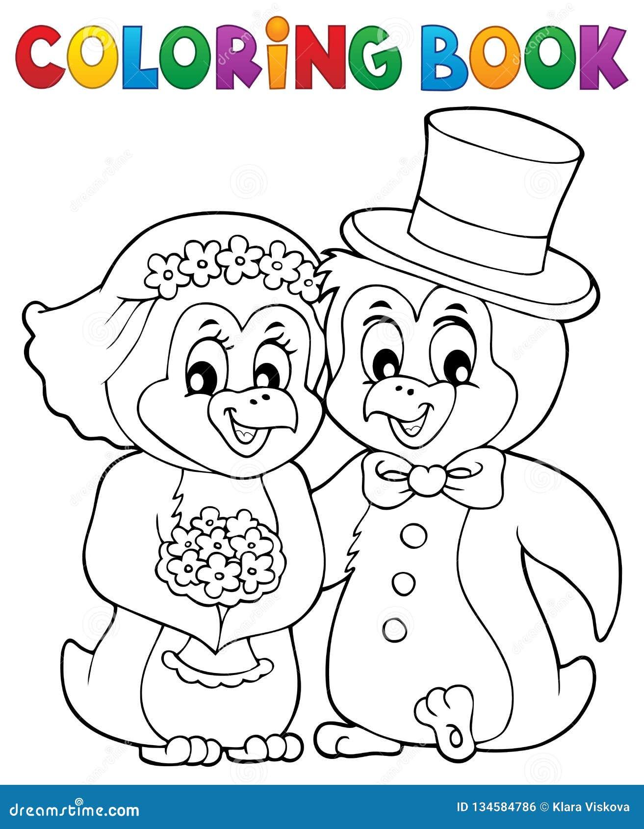 Coloring Book Penguin Wedding Theme 1 Stock Vector ...