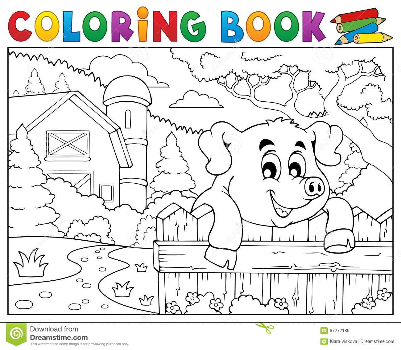 Coloring Book Pig Behind Fence Near Farm Stock Vector