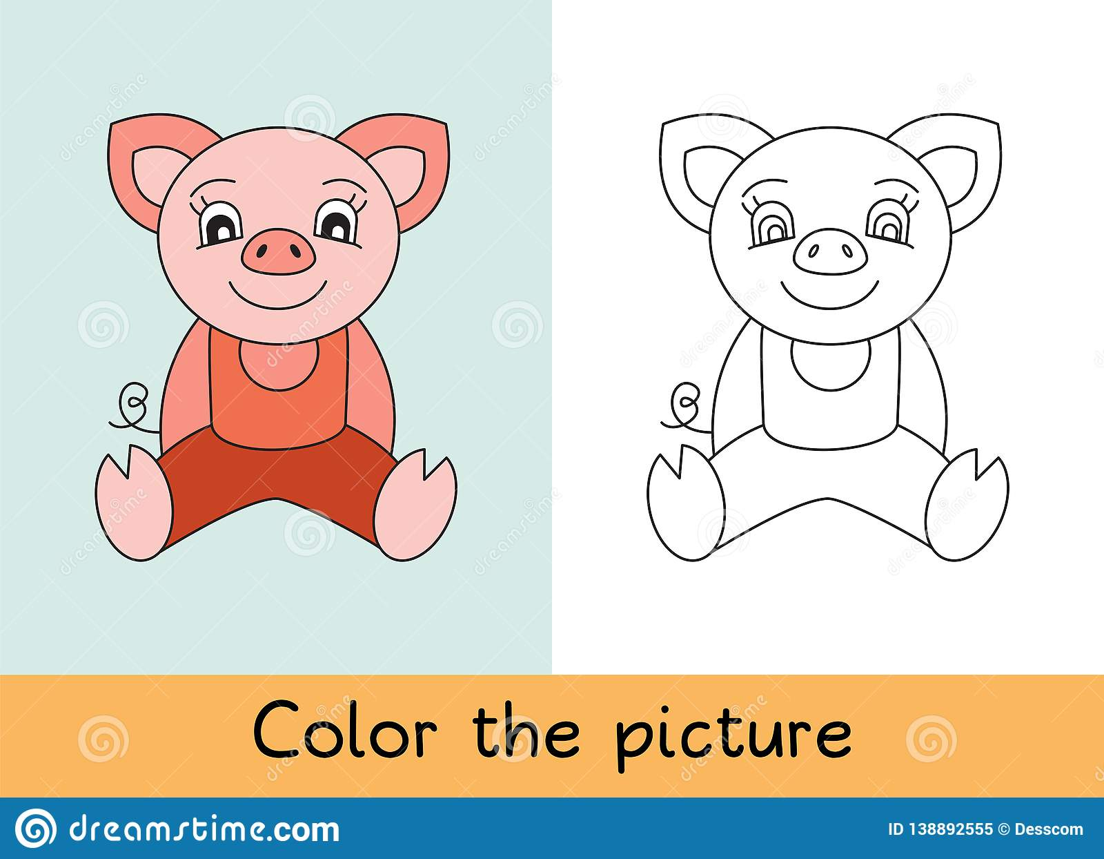 Coloring Book. Pig. Cartoon Animall. Kids Game. Color ...