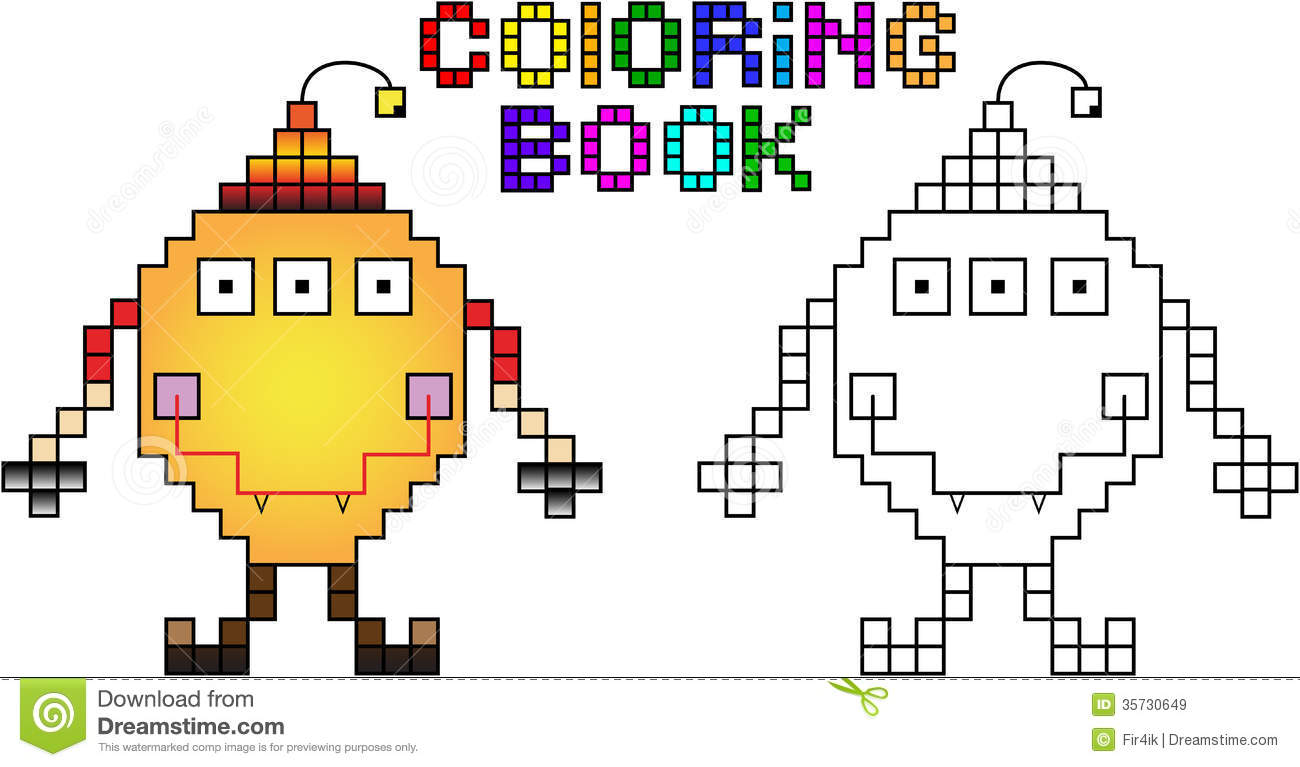 Coloring Book Pixel Monster First Stock Vector Illustration Of