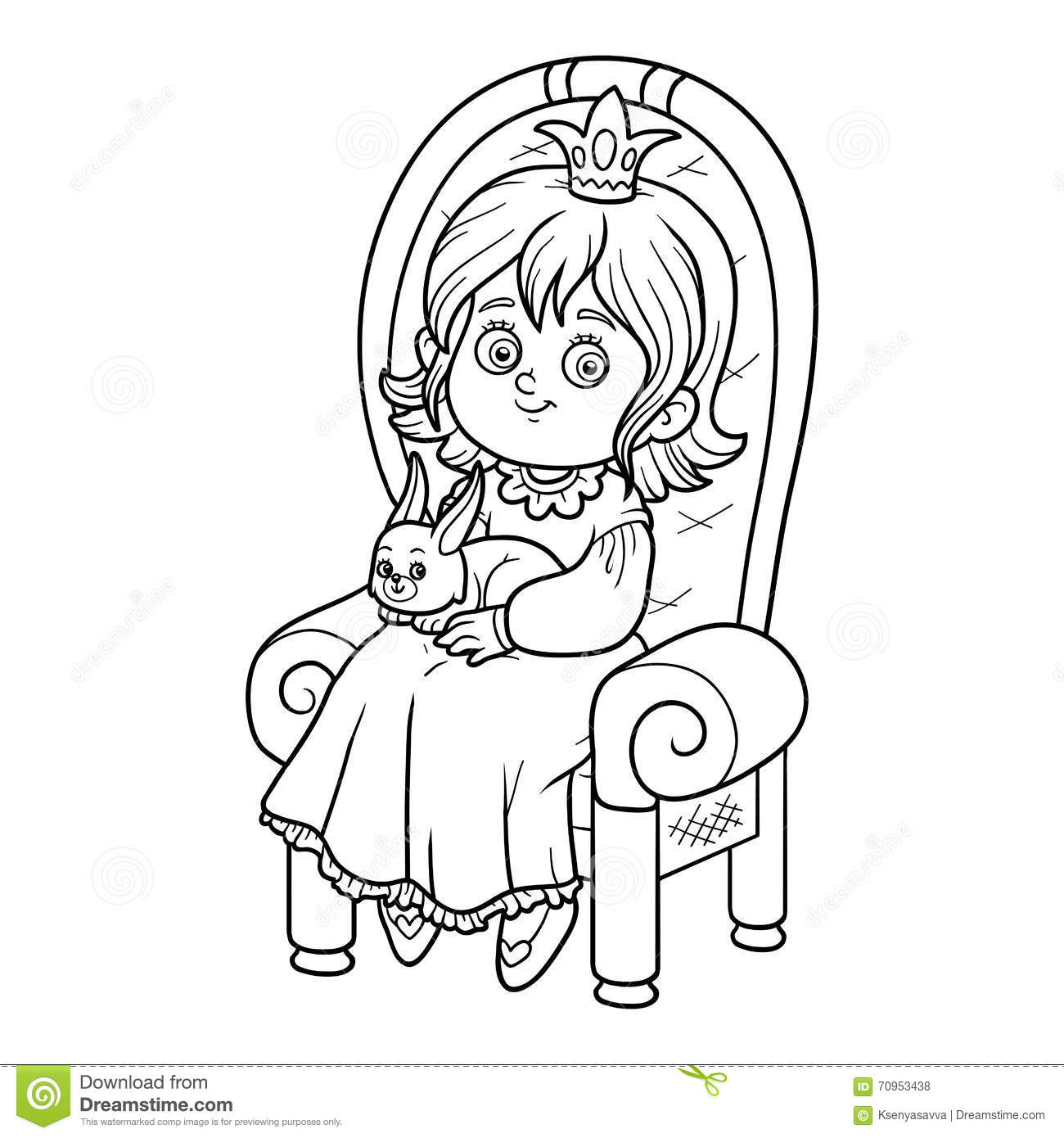 Coloring book princess - Coloring Book Princess Seated On A Throne