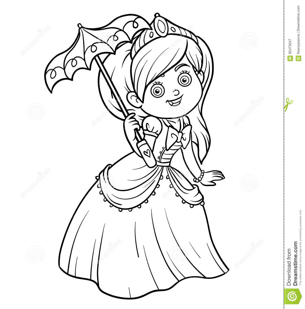 Coloring book princess - Coloring Book Princess With Umbrella