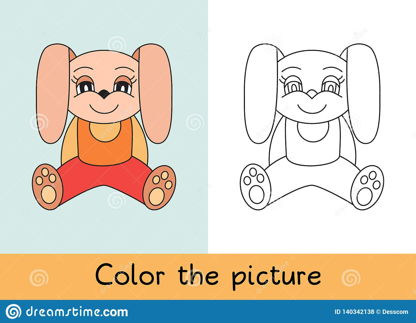Coloring book. Rabbit. Cartoon animall. Kids game. Color picture. Learning by playing. Task for children