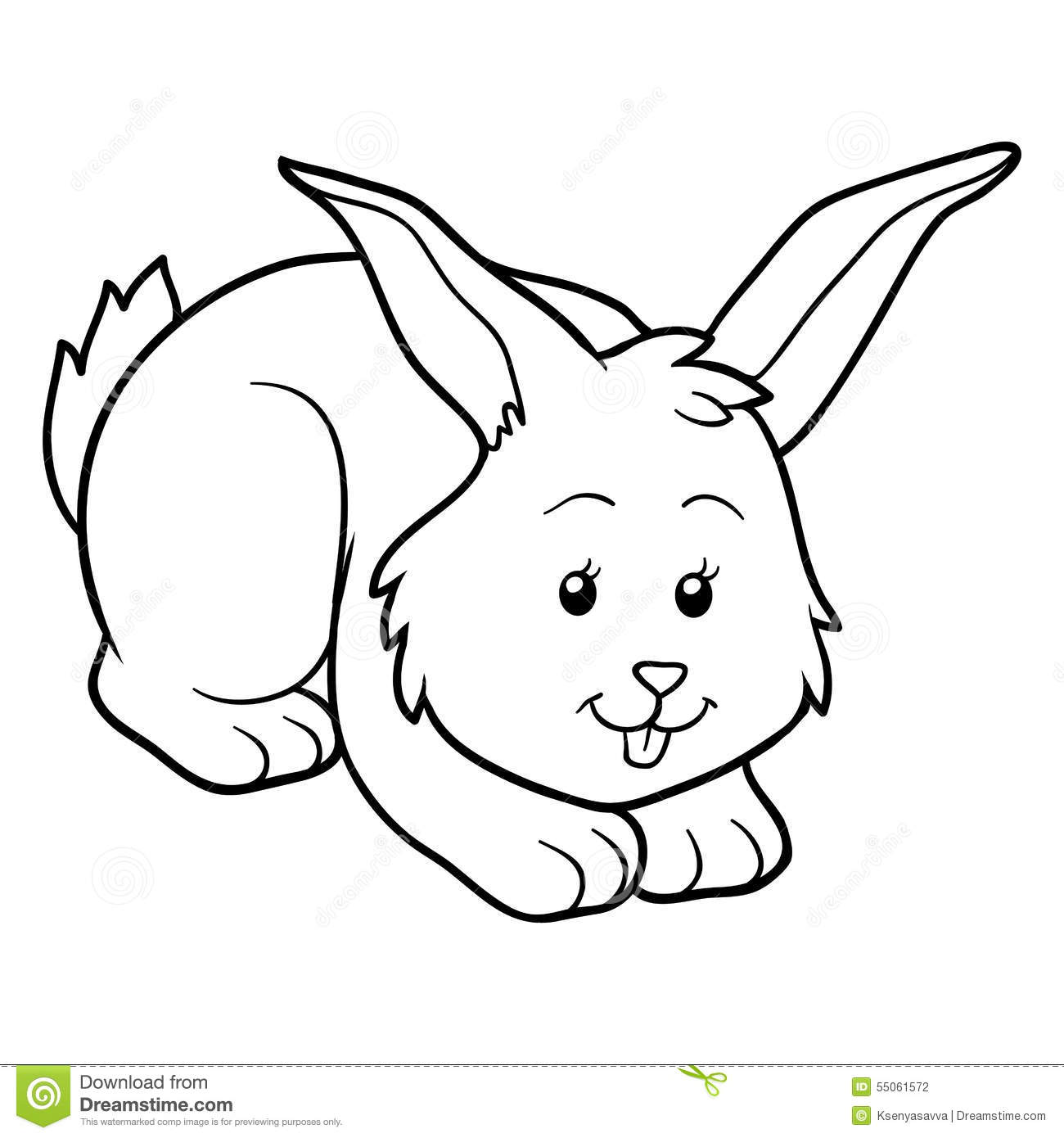 Coloring Book Rabbit Stock Vector Illustration Of Outline
