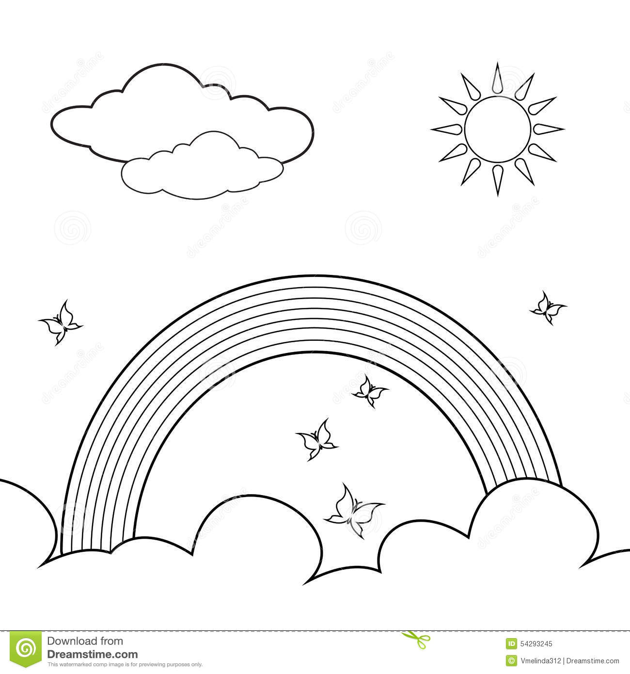 coloring book rainbow stock vector image 54293245