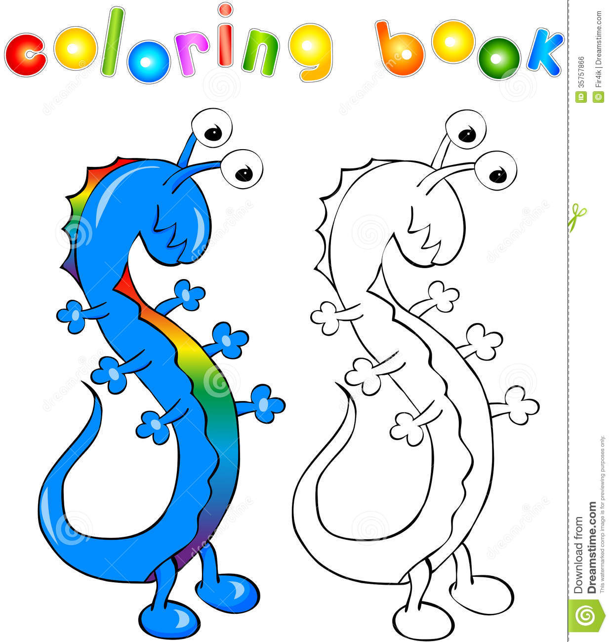 Book Coloring Dragon Funny Monster Rainbow