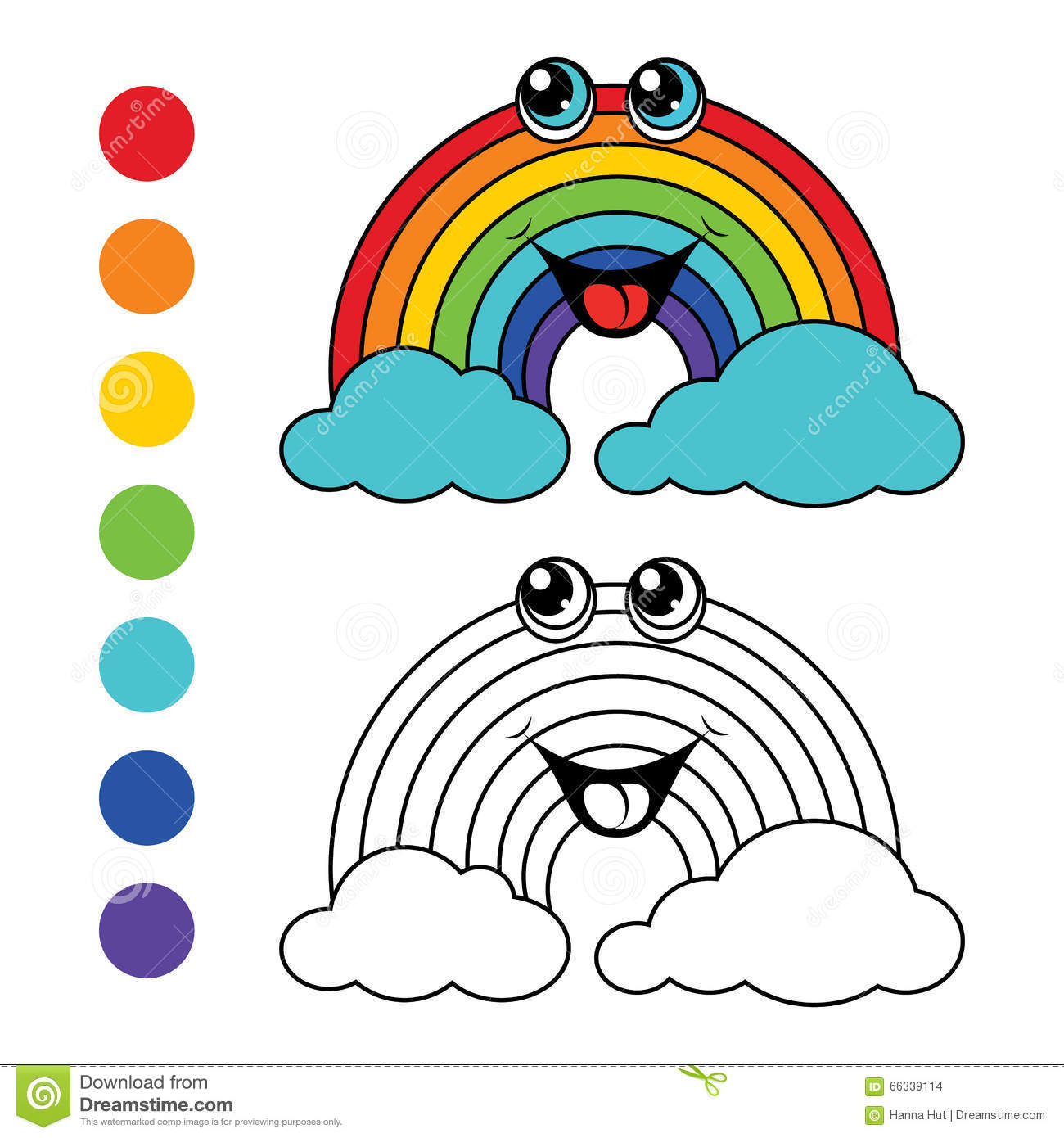 coloring book rainbow kids layout for game illustration 66339114