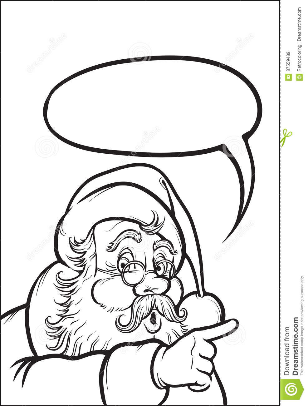 Coloring Book Of Santa Claus Pointing Stock Vector - Illustration of ...