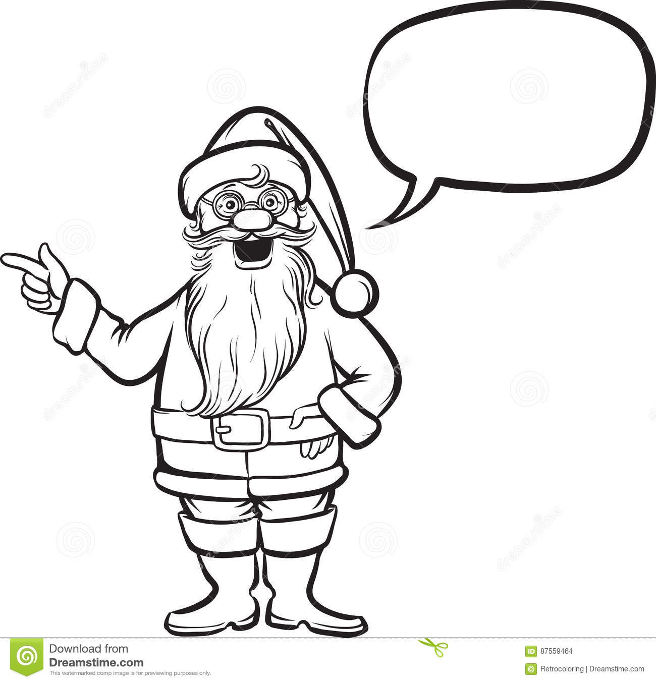 coloring book santa claus pointing