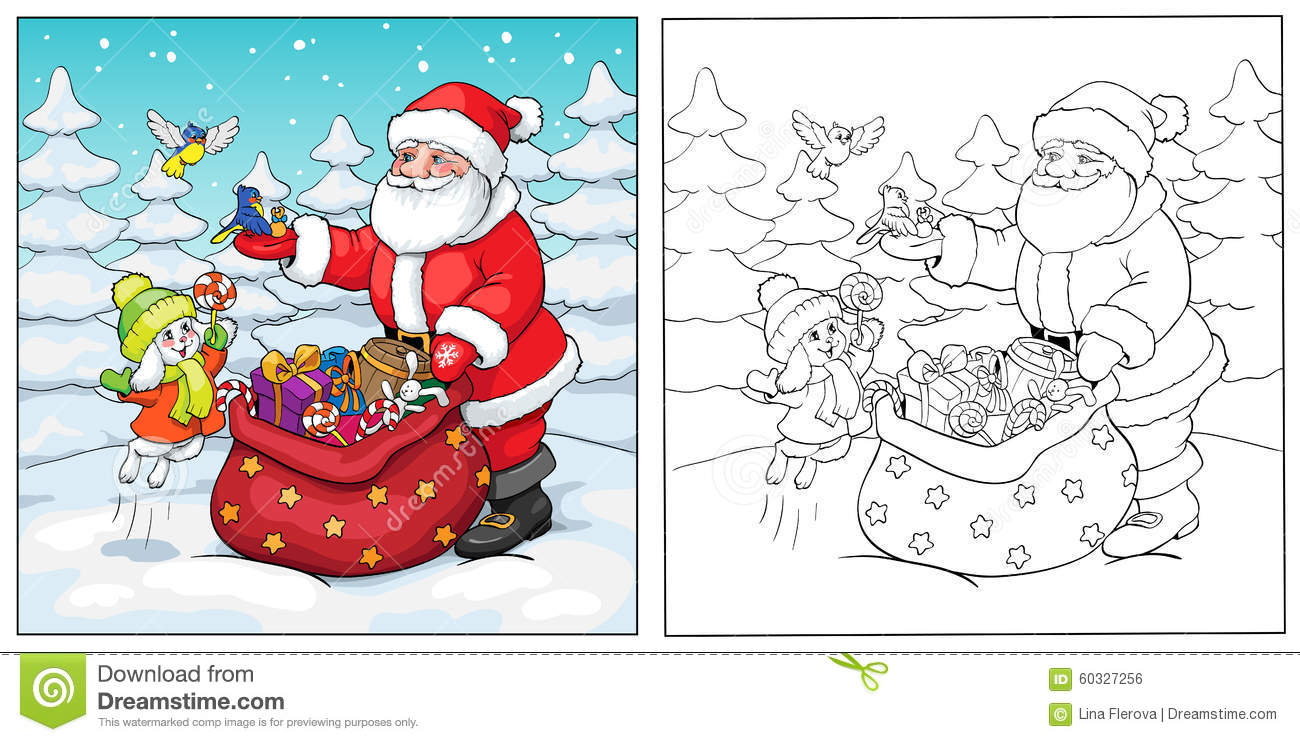 Coloring Book Santa Claus Rabbit And Birds With Gifts