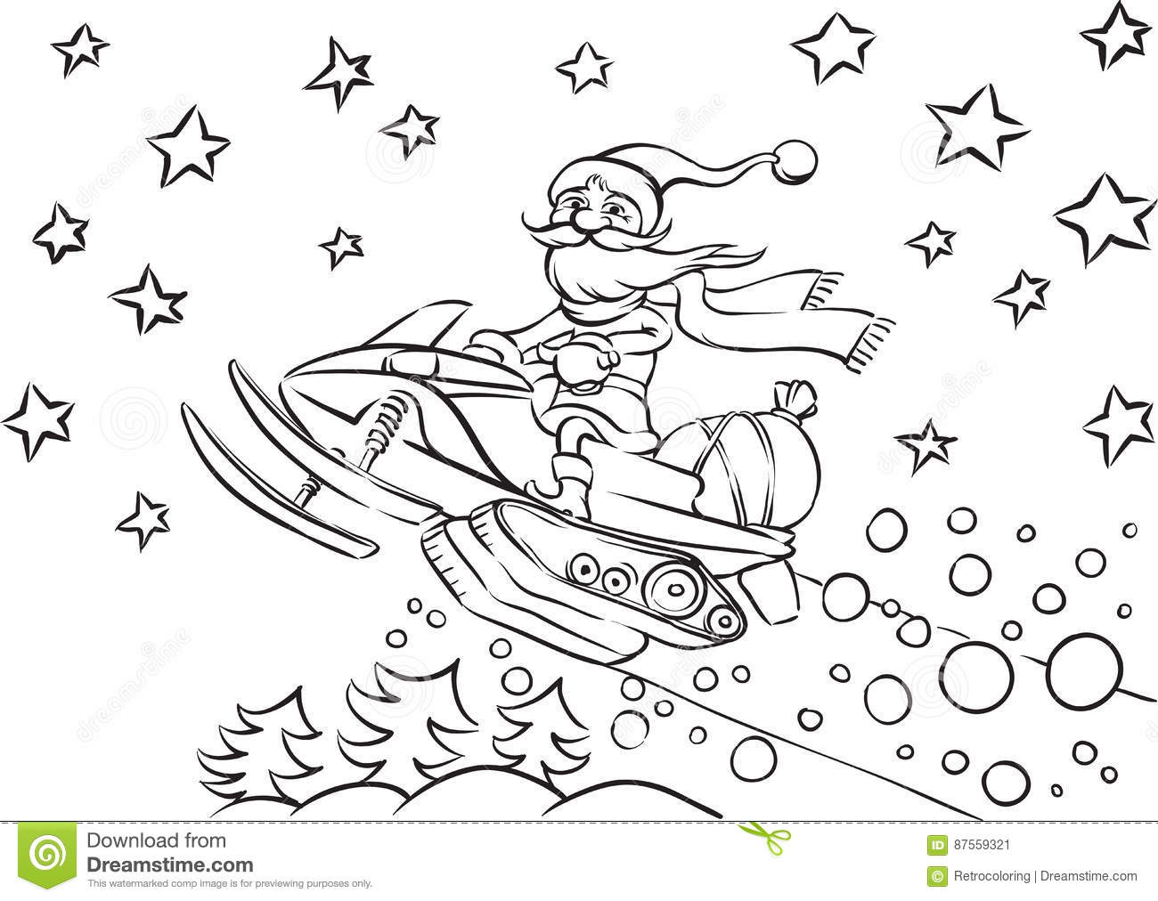 snowmobile coloring pages Coloring Book Santa Claus Riding On Snowmobile Stock Vector  snowmobile coloring pages