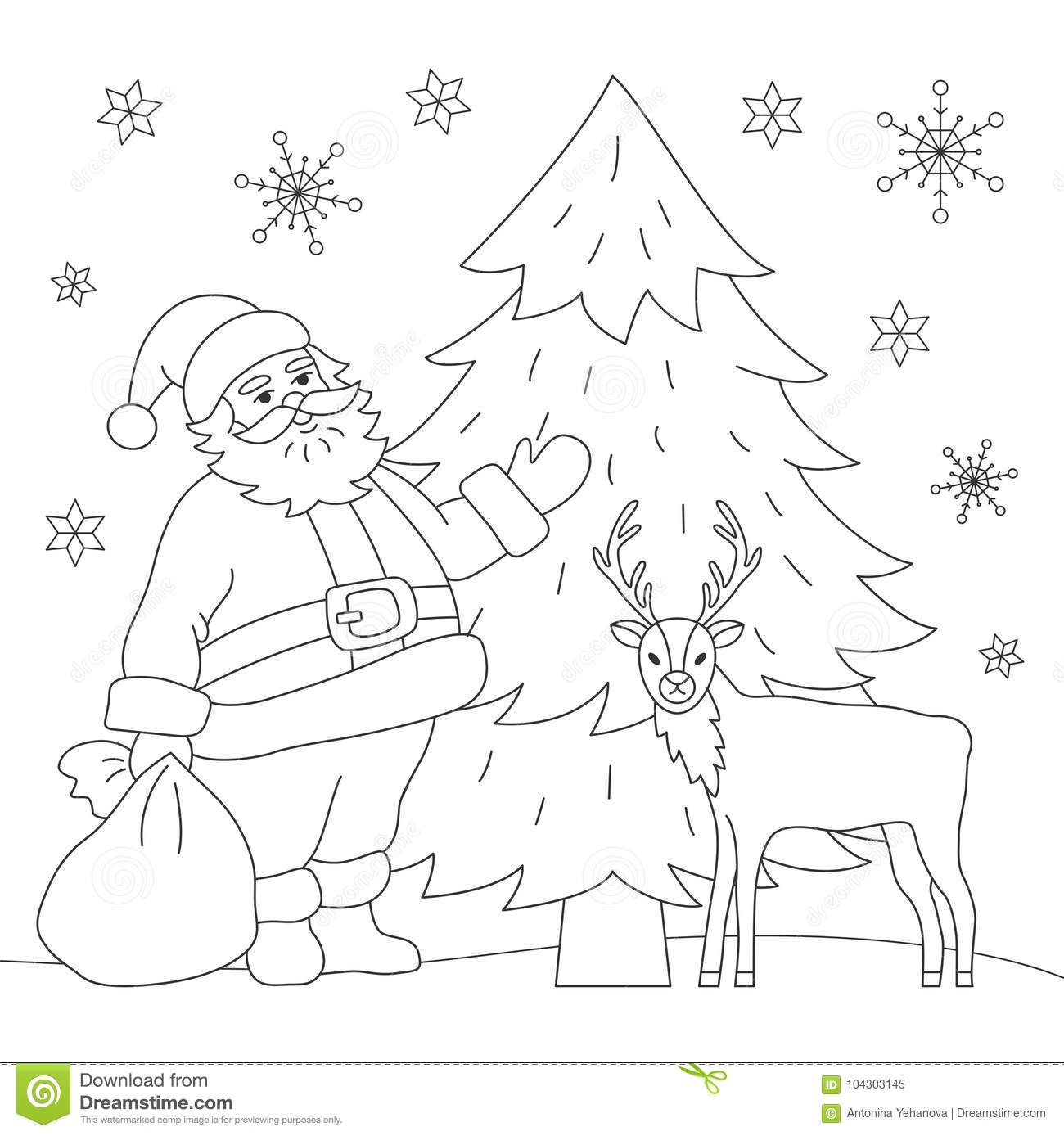 coloring book santa and deer