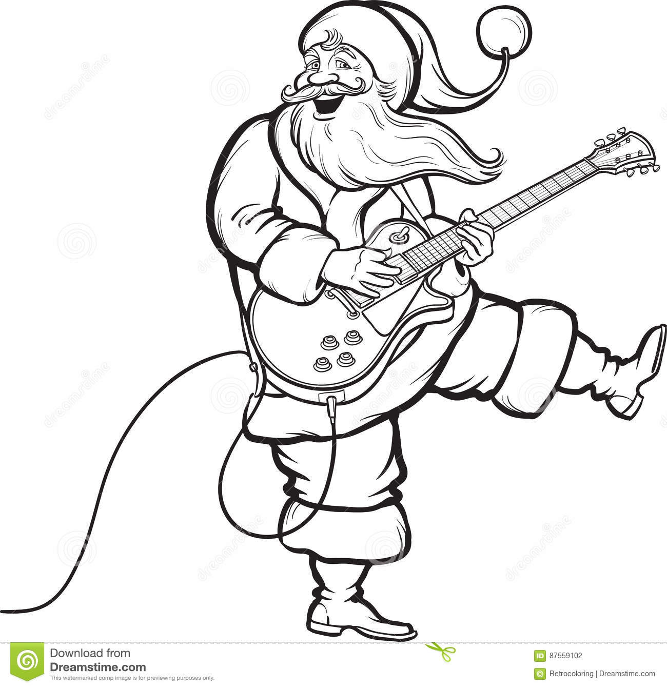 coloring book of santa playing electric guitar stock