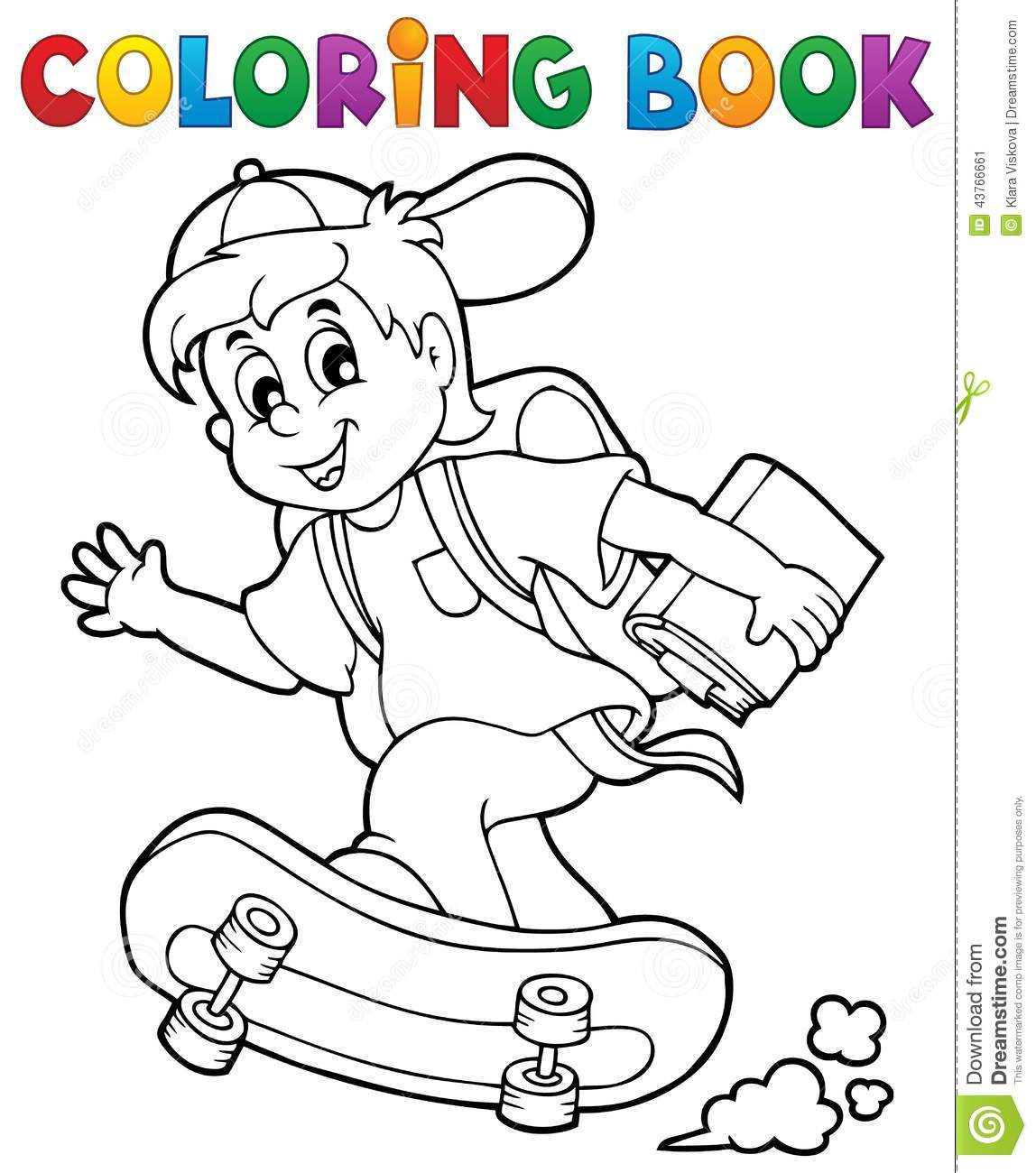 Coloring book school - Coloring Book School Boy Theme 1 Stock Vector Image 43766661