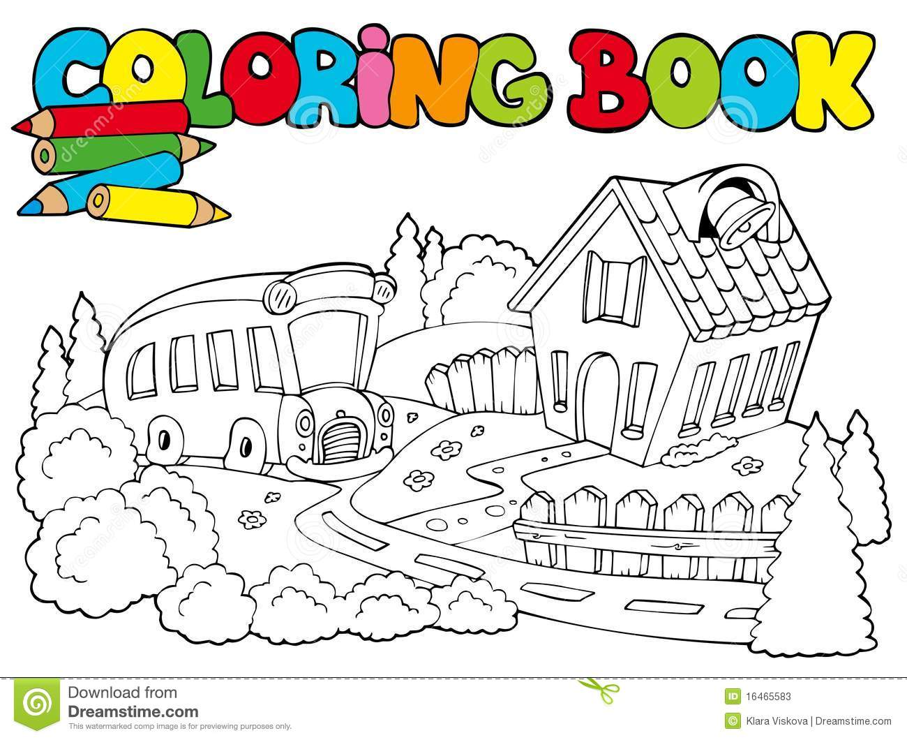 Coloring book school - Book Bus Coloring Illustration School