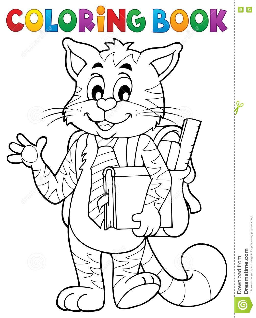 Coloring book school - Book Cat Coloring Eps10 Illustration School