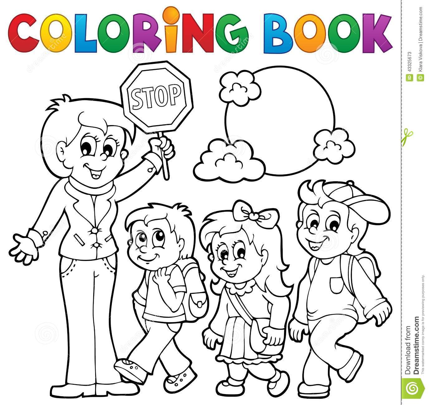 Coloring Book School Kids Theme 1 Stock Vector - Image