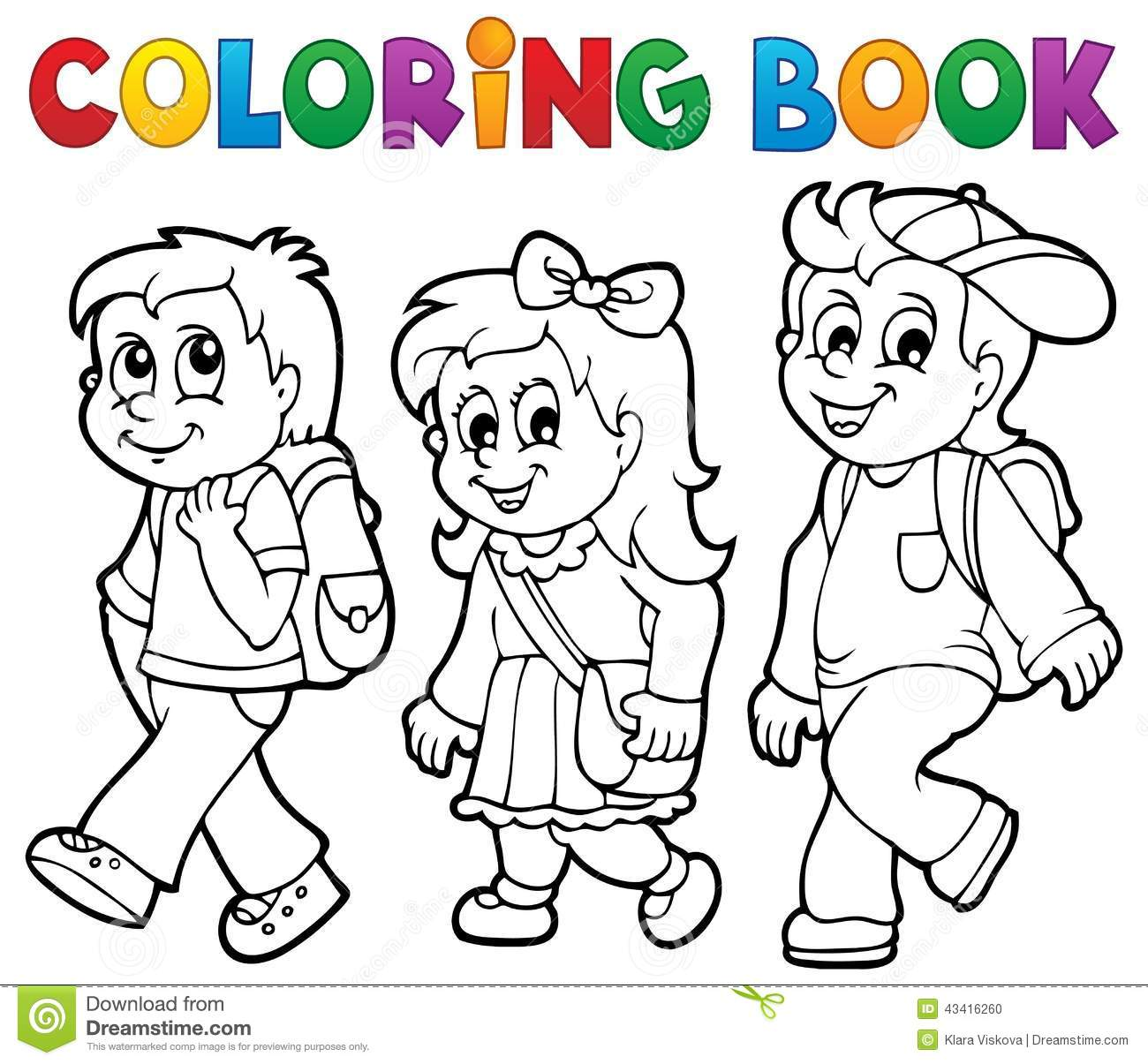 Coloring Book School Kids Theme 2 Stock Vector ...
