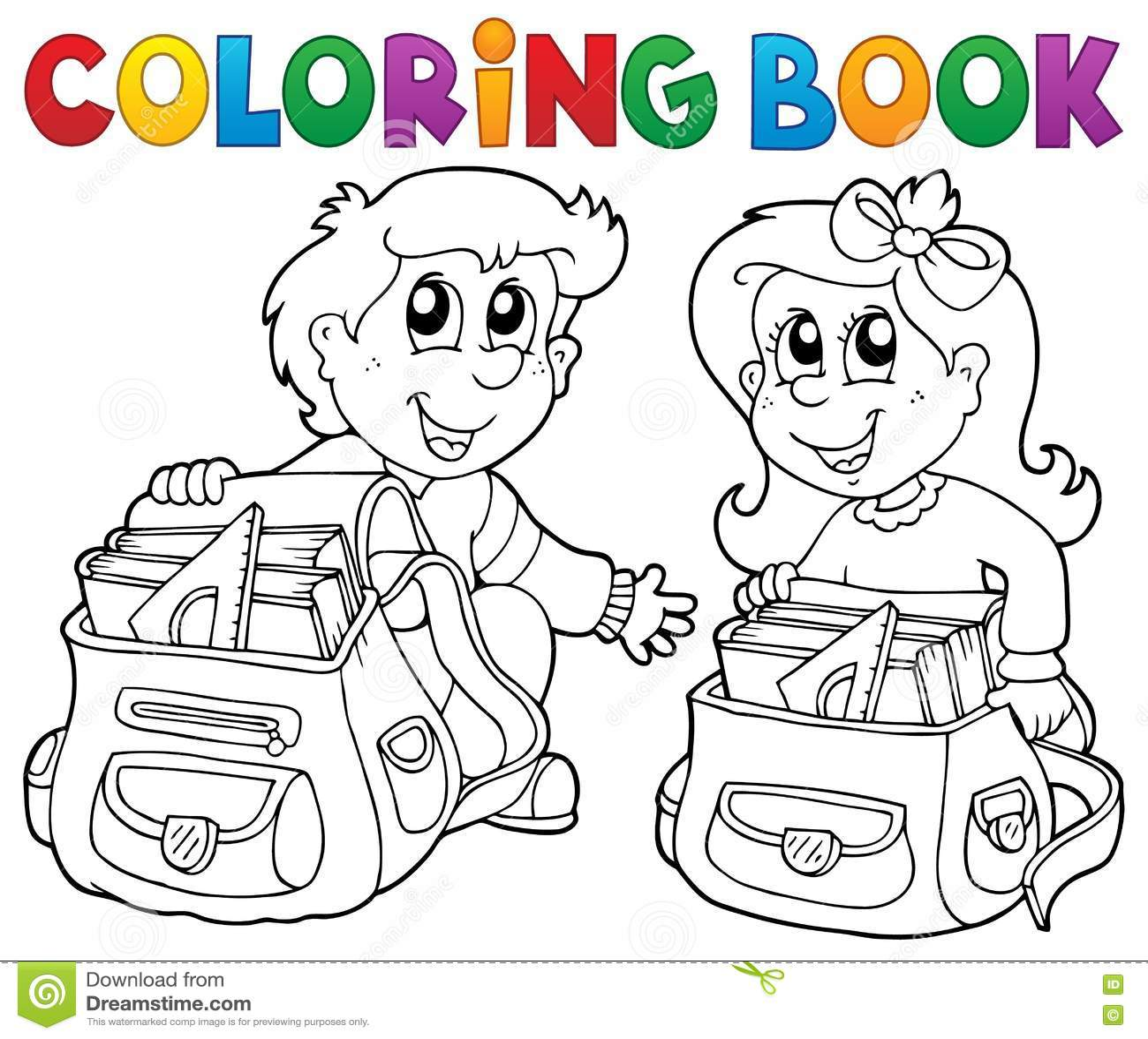 Coloring book school - Book Coloring Eps10 Illustration Kids School